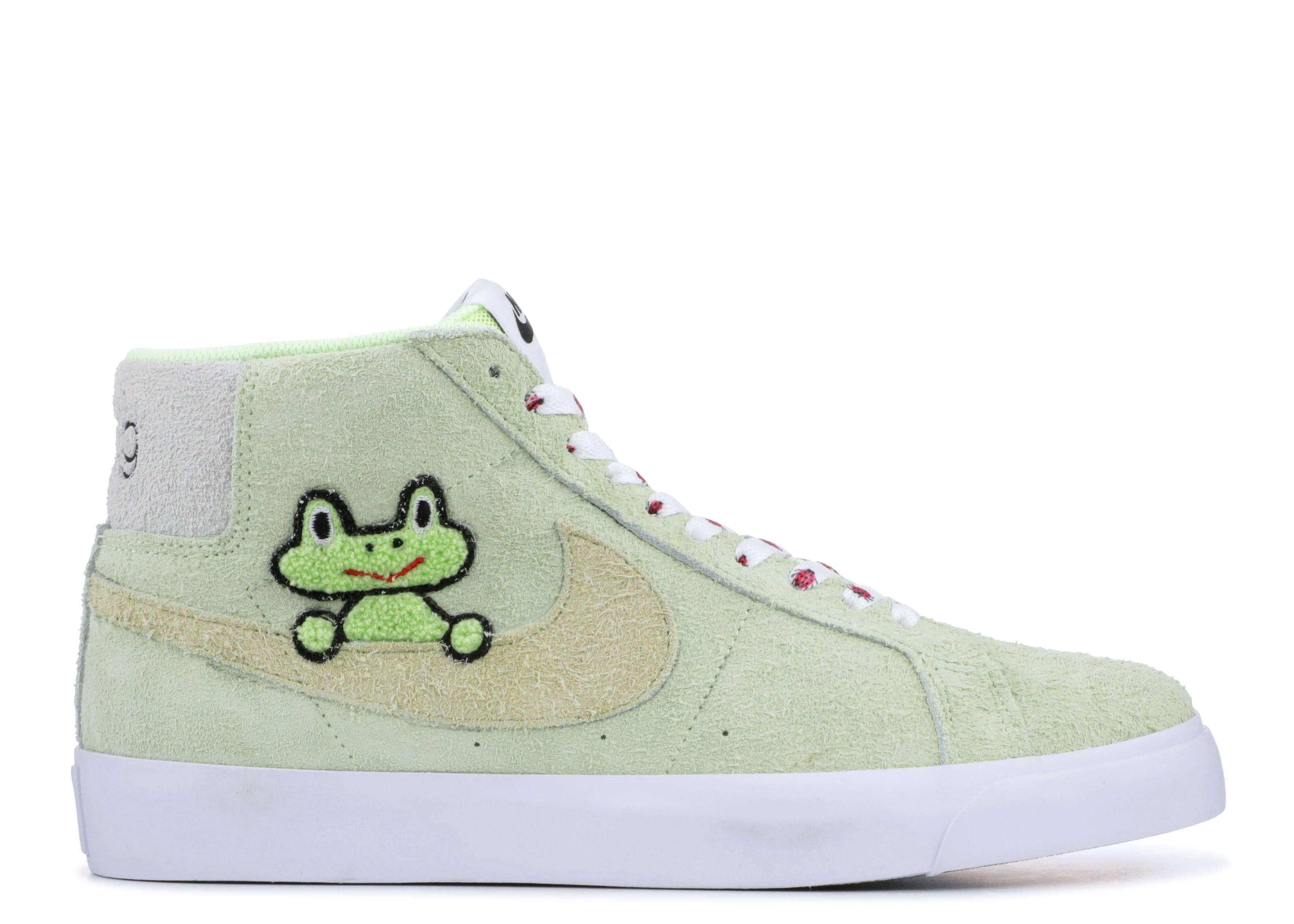Frog Skateboards x Nike SB Blazer Mid QS Light Liquid LimeWhite For Sale