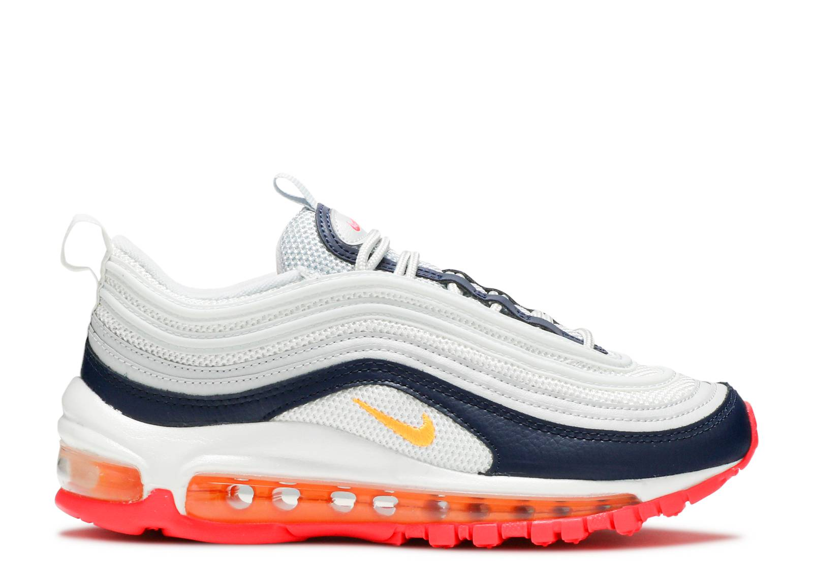 Nike W Air Max 97 Pure Platinum Laser Orange Midnight Navy