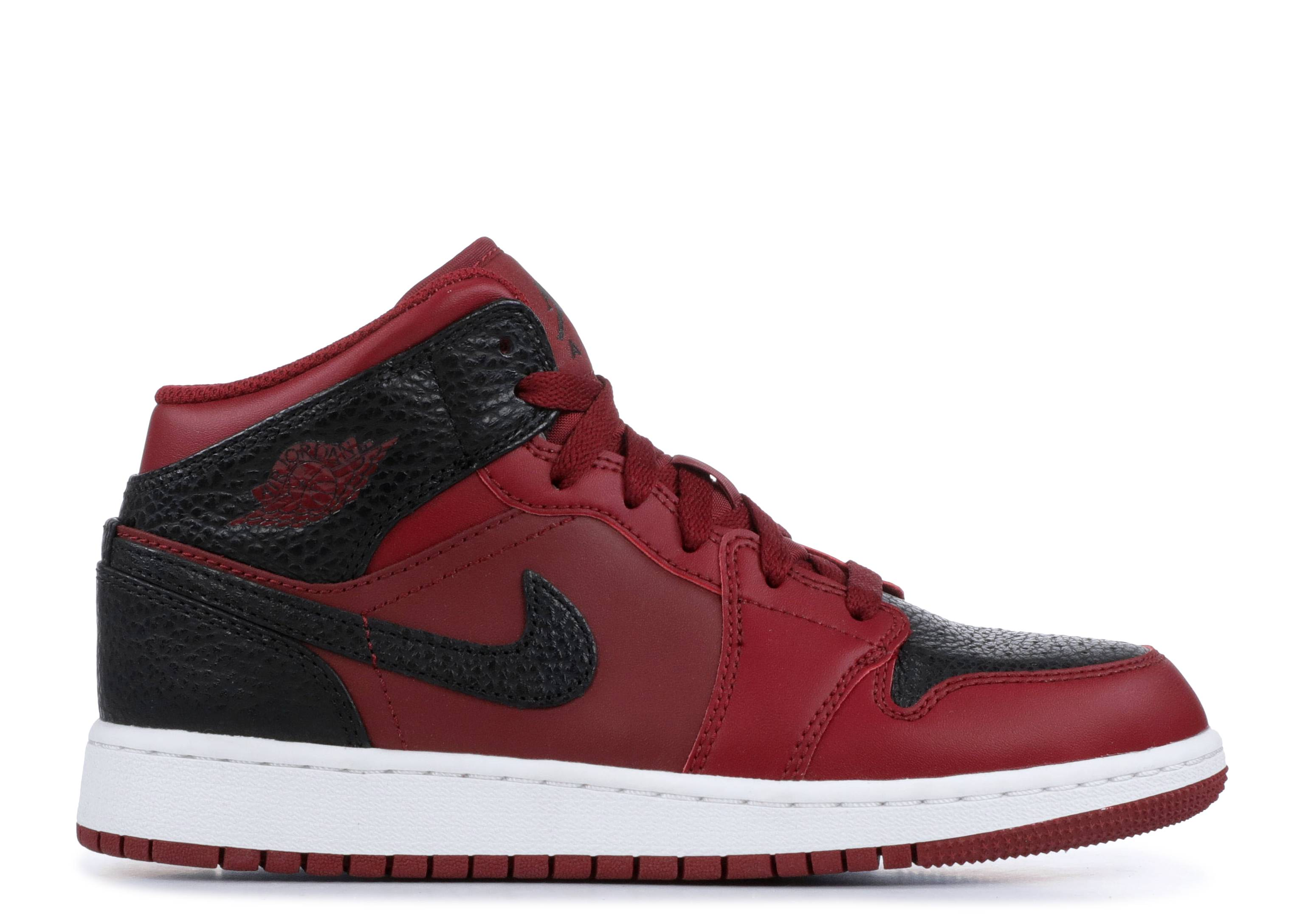 "Air Jordan 1 Retro Mid GS 'Team Red Black' ""Team Red Black"""