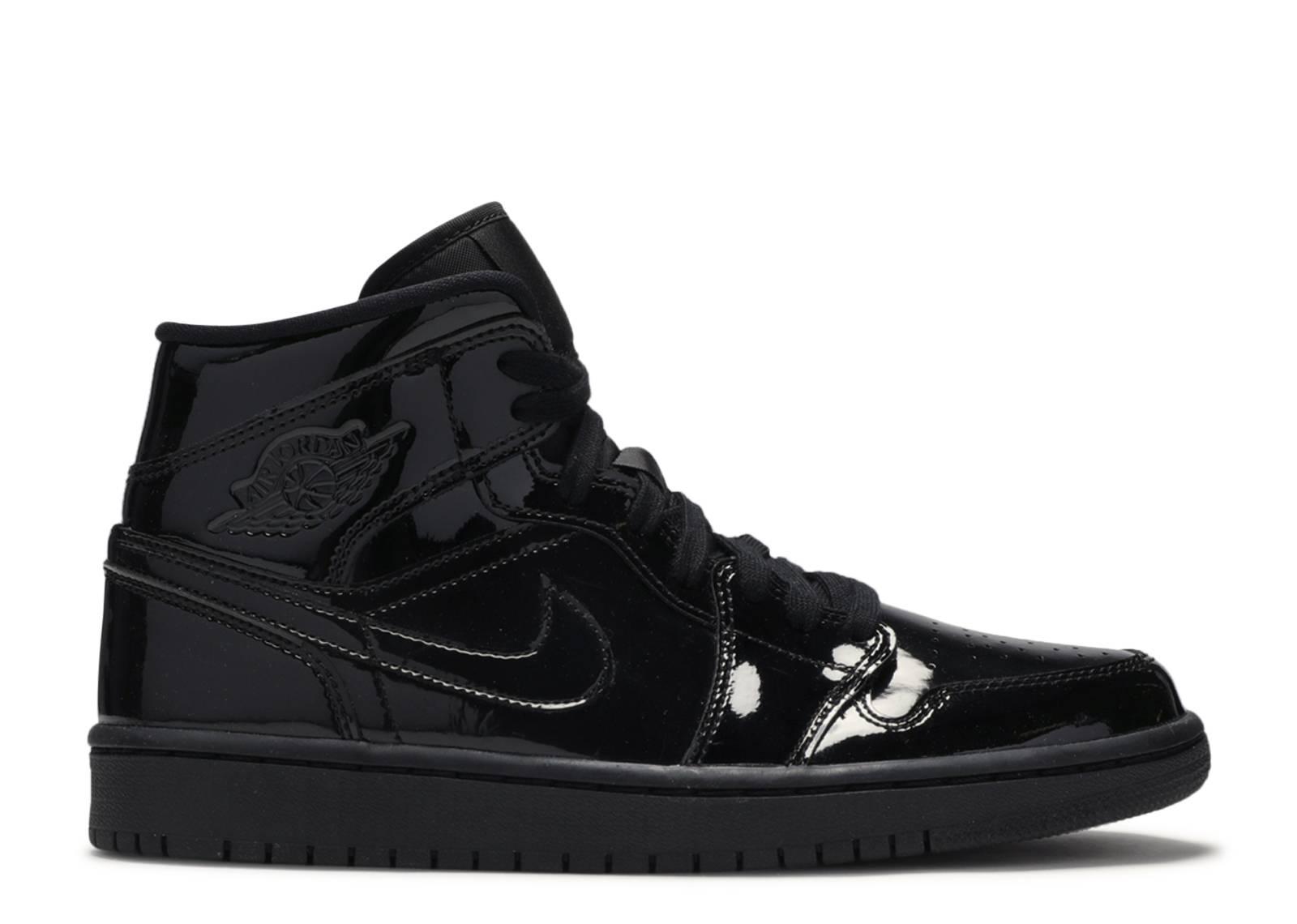 "Wmns Air Jordan 1 Mid Patent SE 'Triple Black' ""Triple Black"""