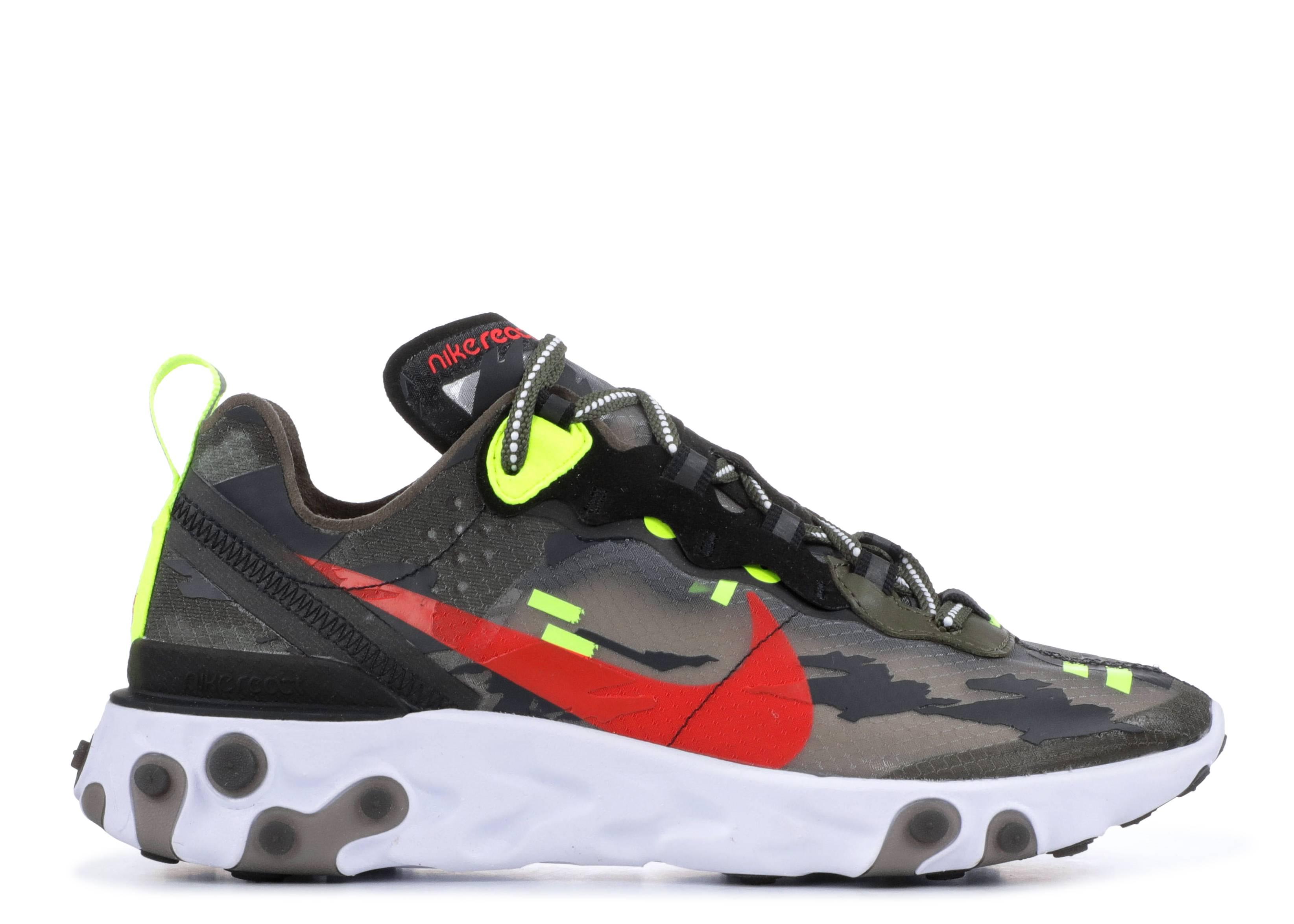Nike React Element 87 Medium Olive Bright Crimson Black Volt CJ4988 200