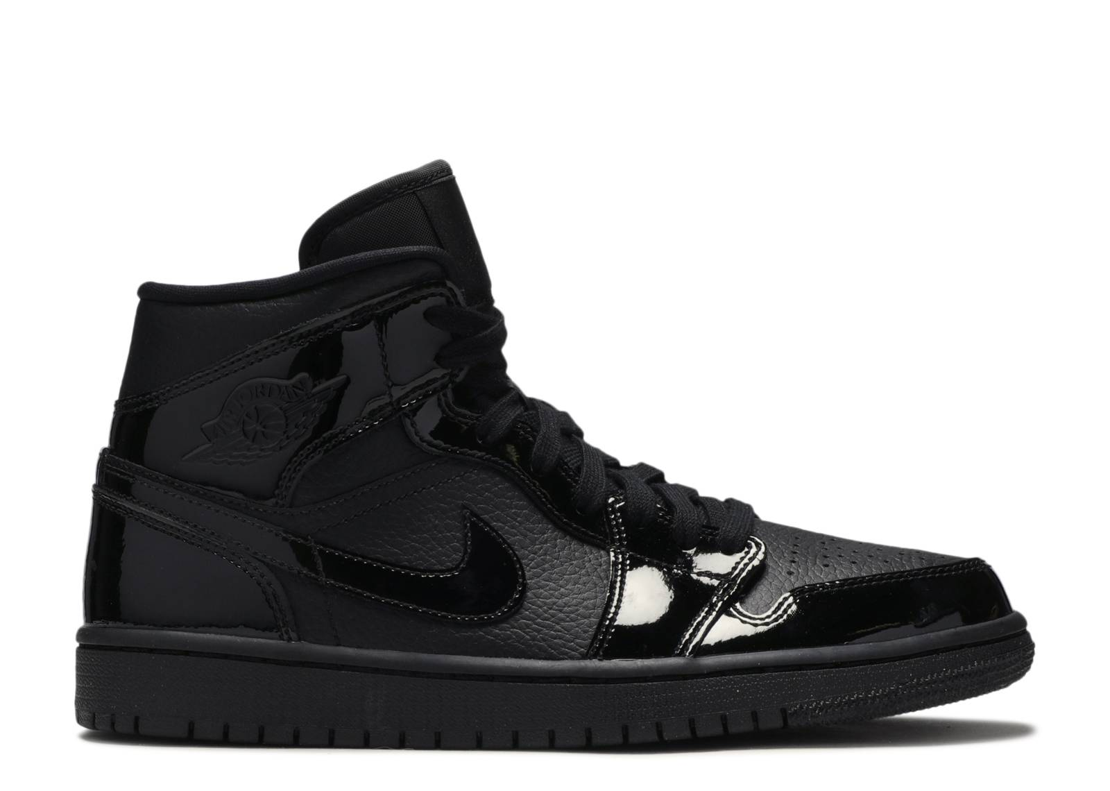 "Wmns Air Jordan 1 Mid Patent 'Triple Black' ""Triple Black"""