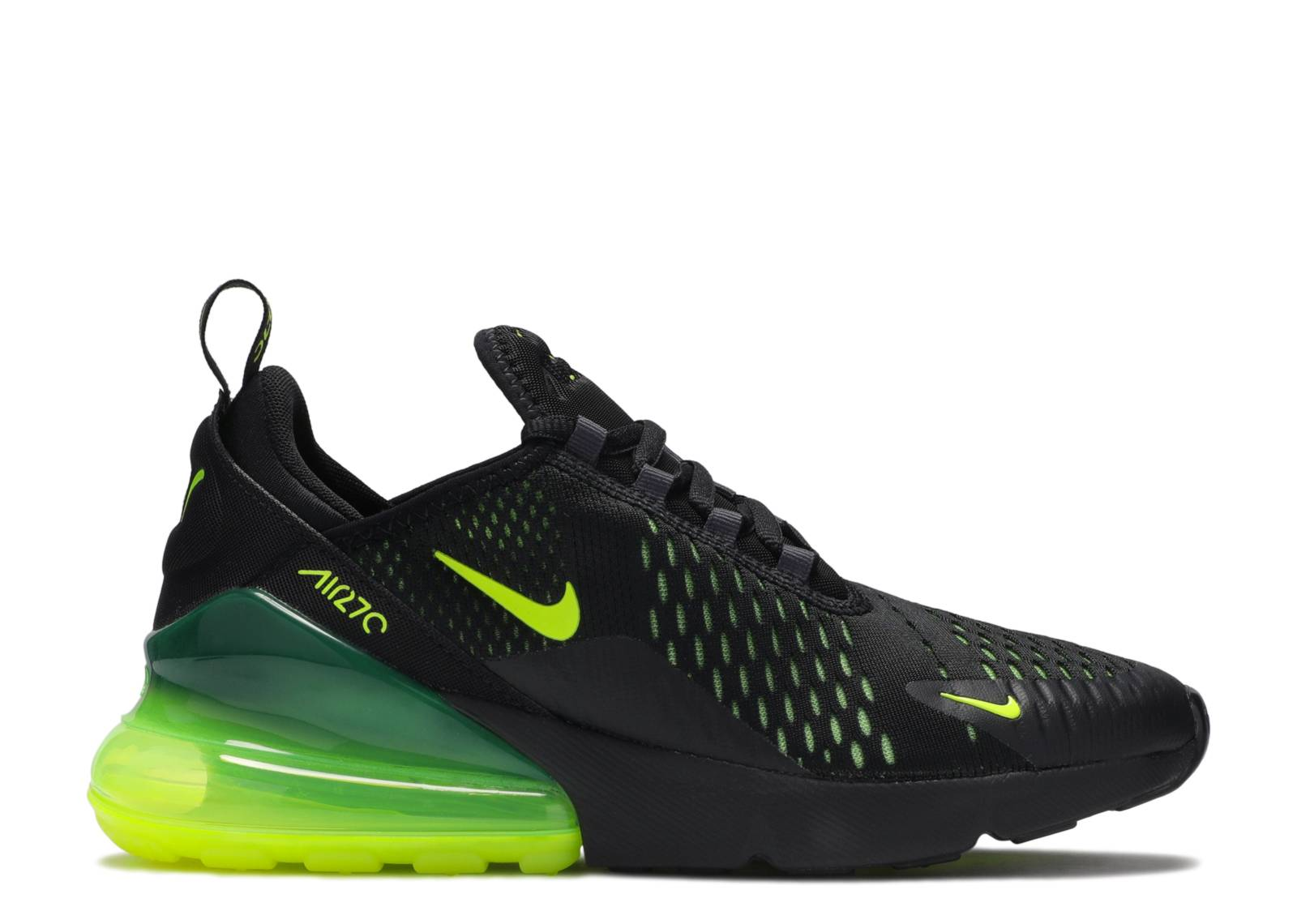 Nike Air Max 270 Running Shoes Black Neon Green Volt Men's