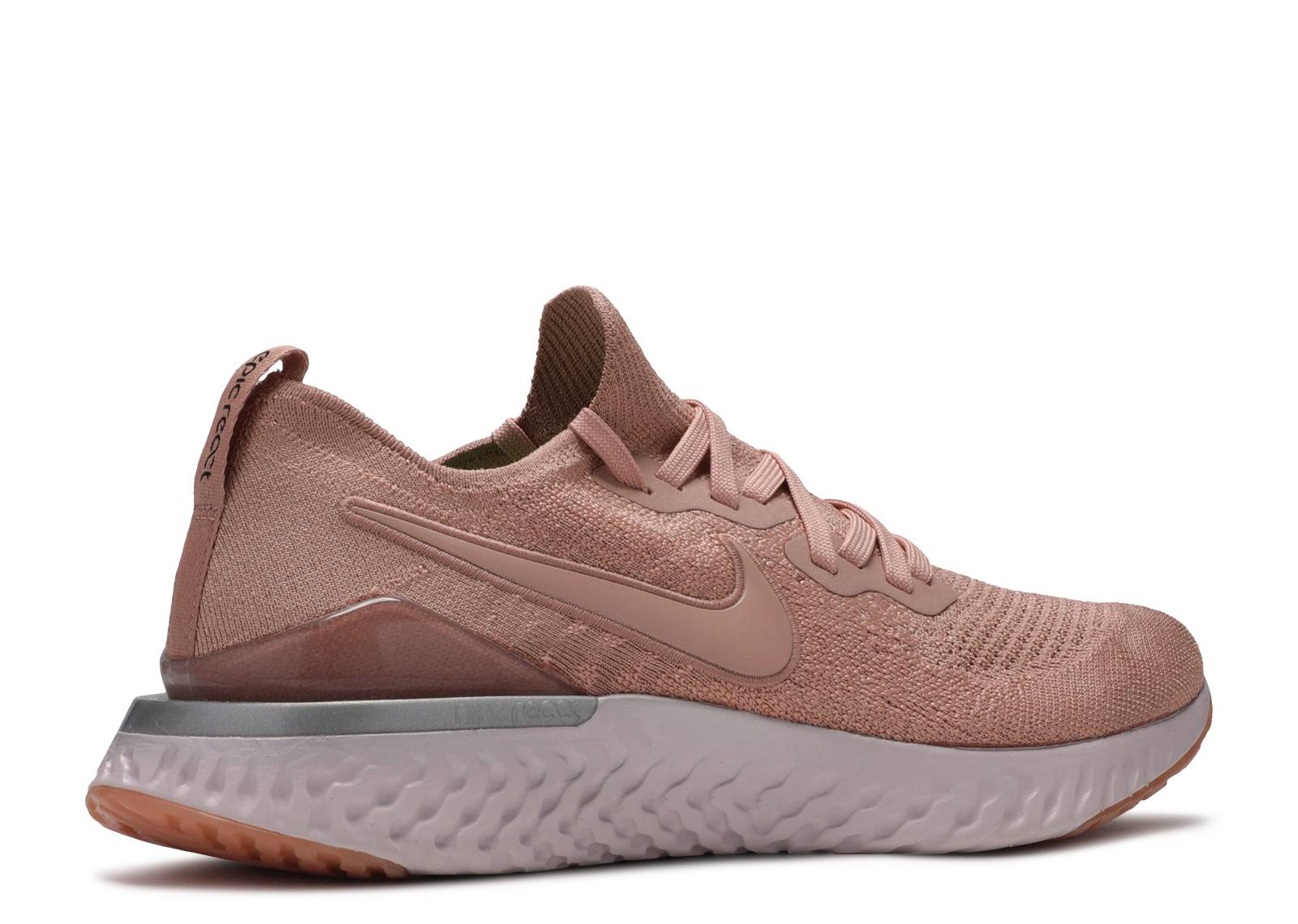 nike running epic react flyknit trainers in white and rose gold