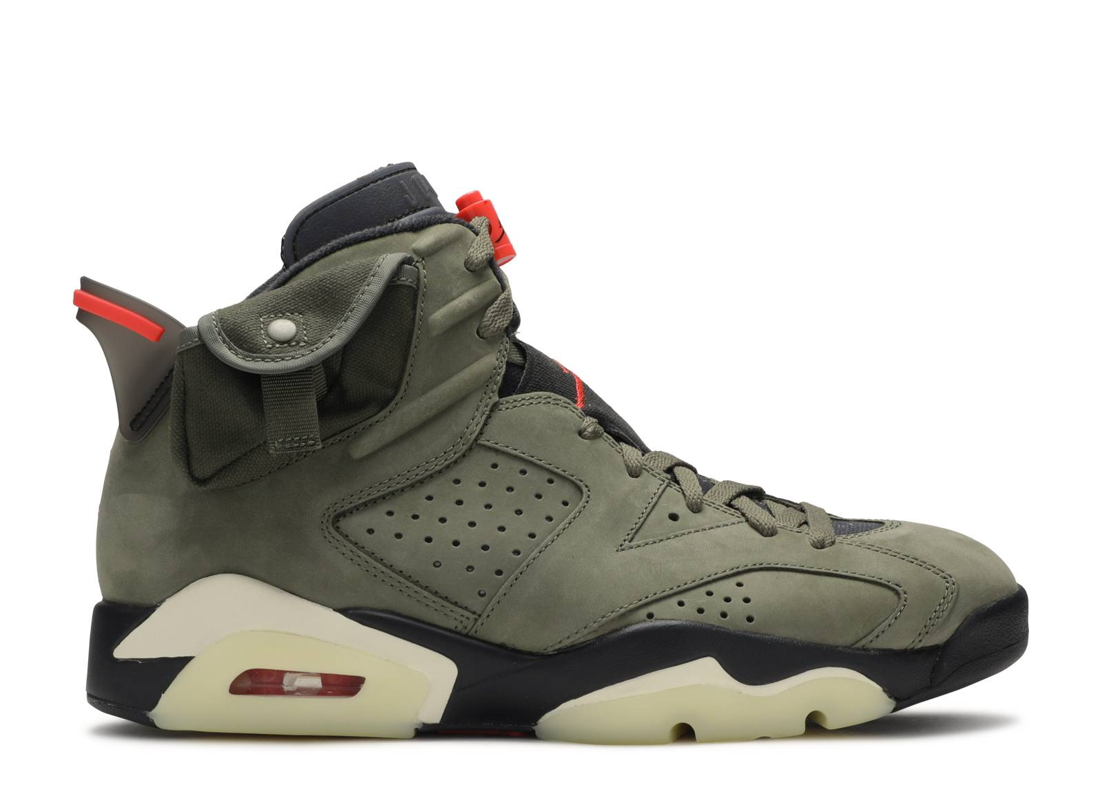 actualizar Locura binario  Travis Scott X Air Jordan 6 Retro 'Olive' - Air Jordan - CN1084 200 -  medium olive/black-sail-university red | Flight Club