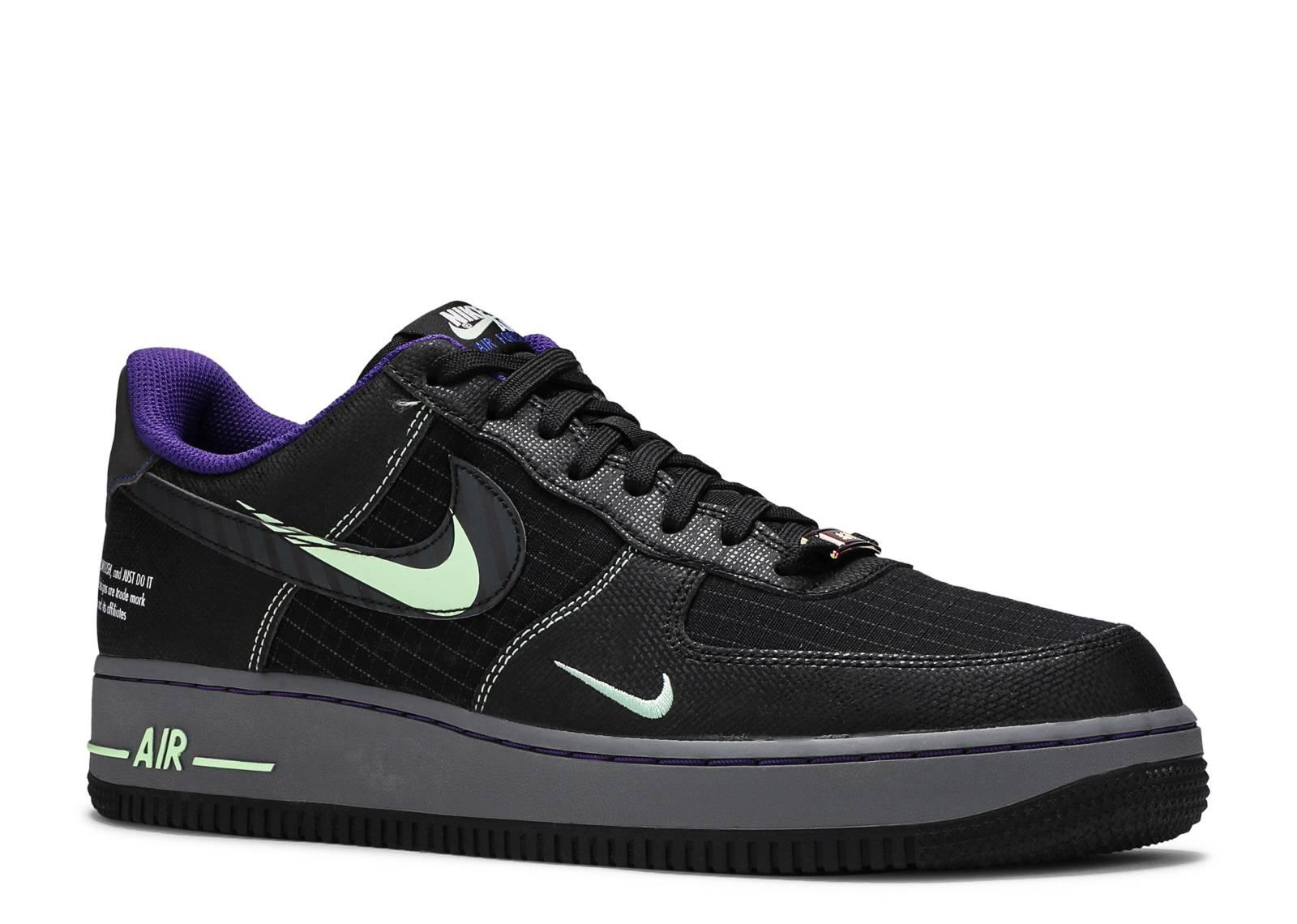 Nike Air Force 1 Trainers Black Dark Grey Racer Blue