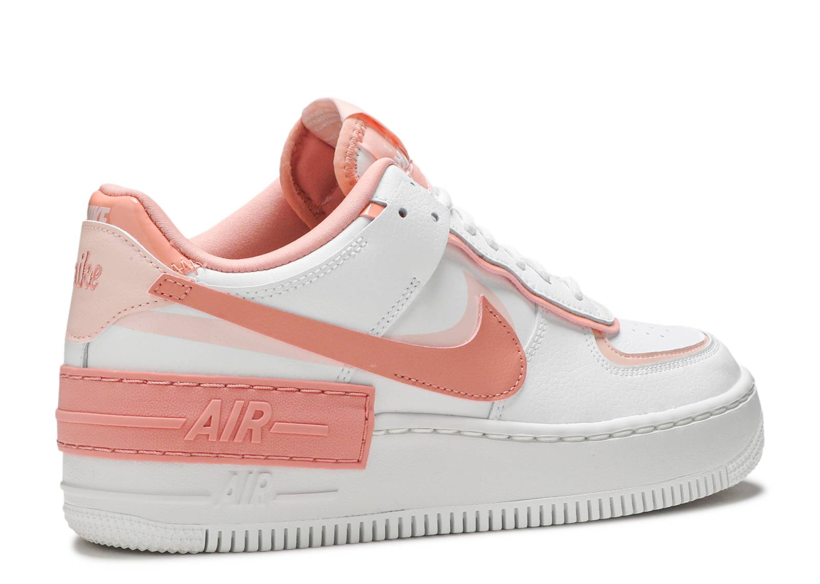 Wmns Air Force 1 Shadow Washed Coral Nike Cj1641 101 Summit White Washed Coral Summit White Pink Quartz Flight Club The nike swooshes are sitting on top of each other, while the exaggarated stacked midsole features an 'air' tab to the side. wmns air force 1 shadow washed coral