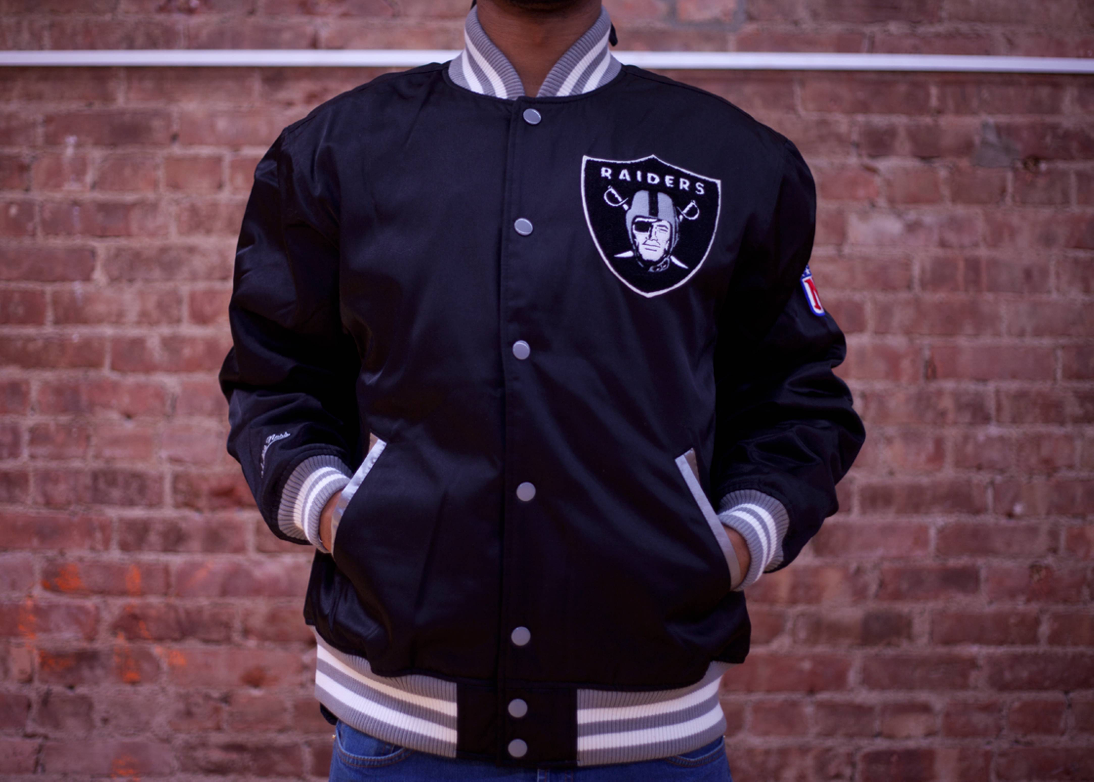 oakland raiders screen pass satin jacket