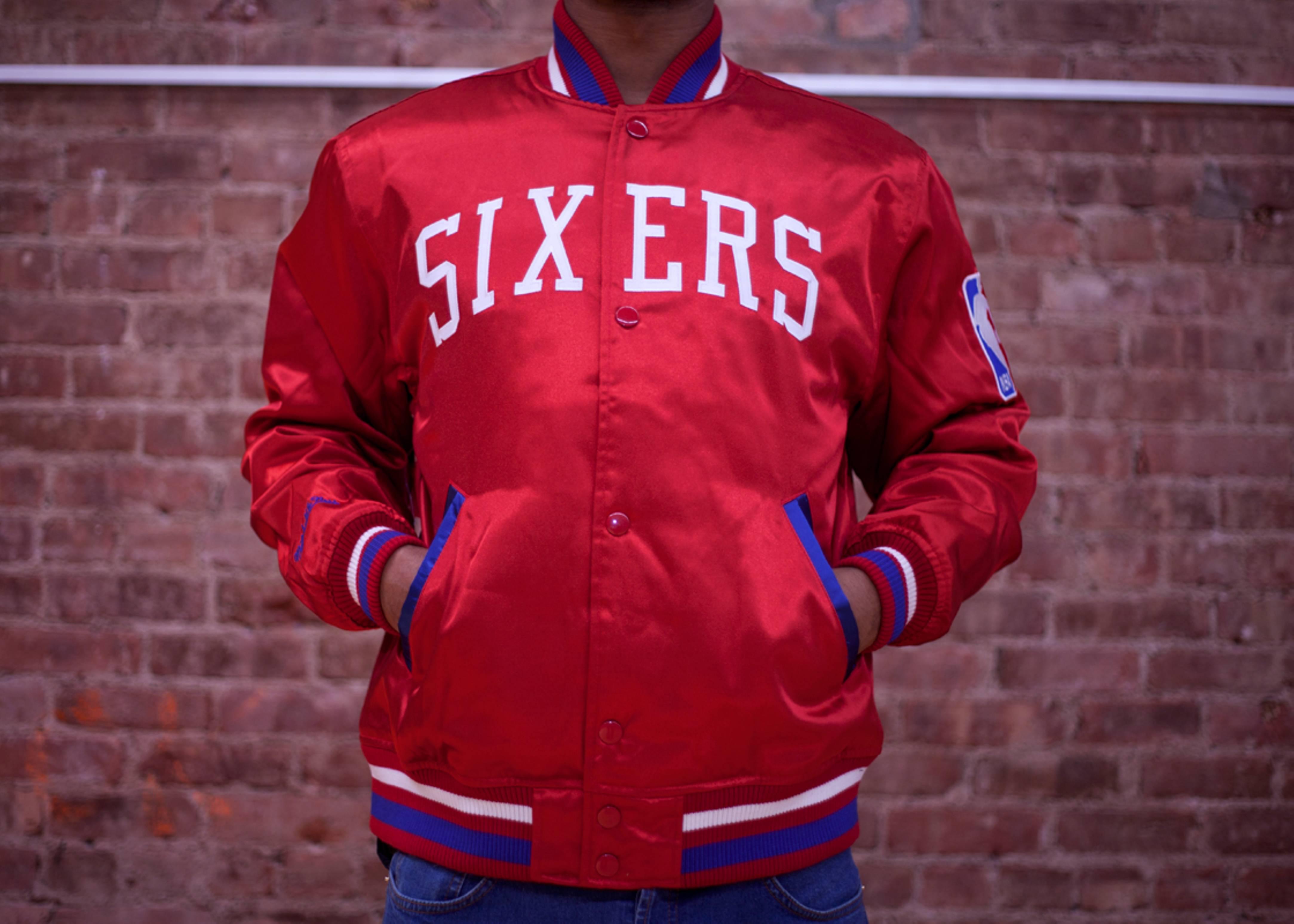 philadelphia 76ers nba satin jacket