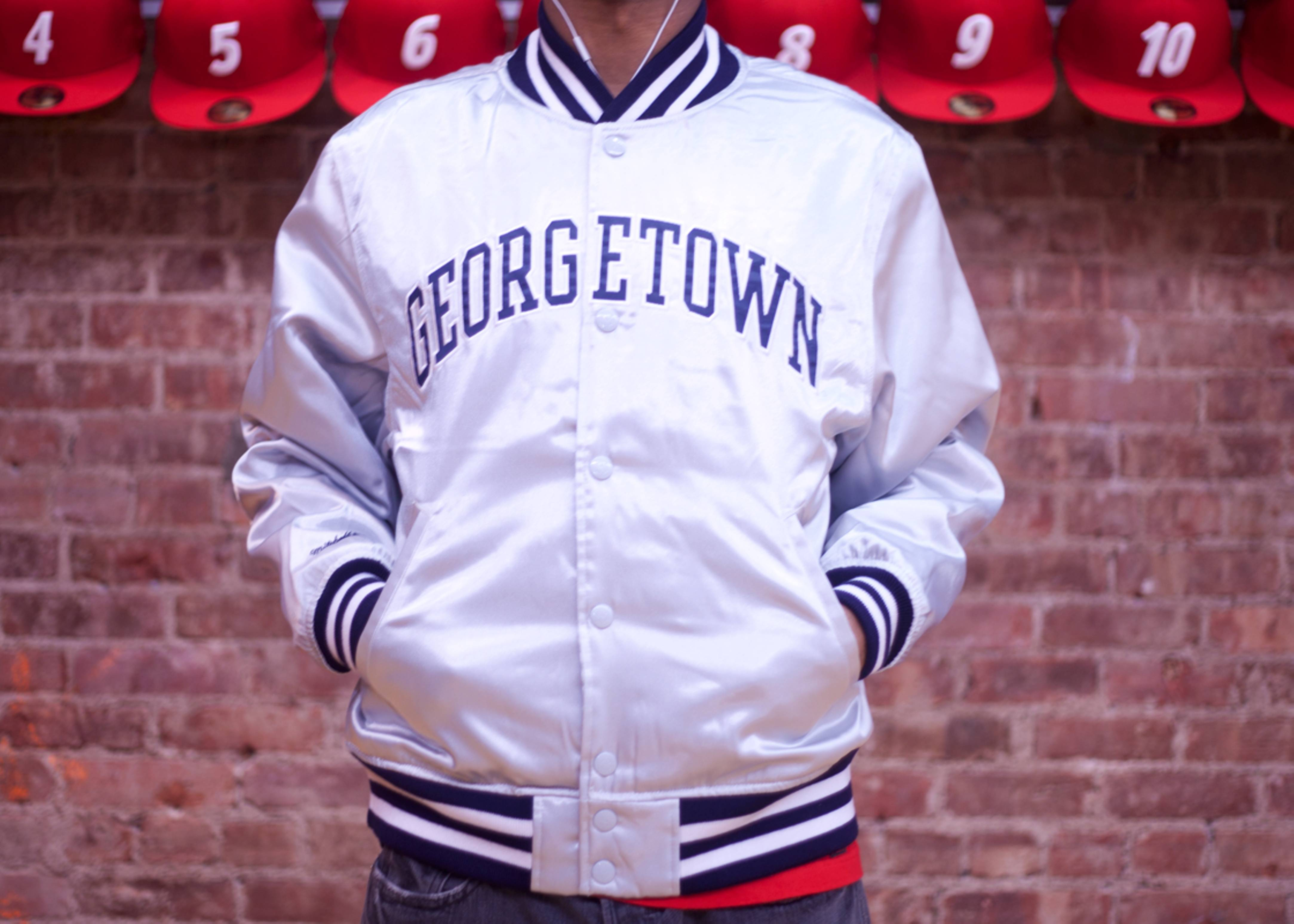 "georgetown university satin jacket ""hoyas"""