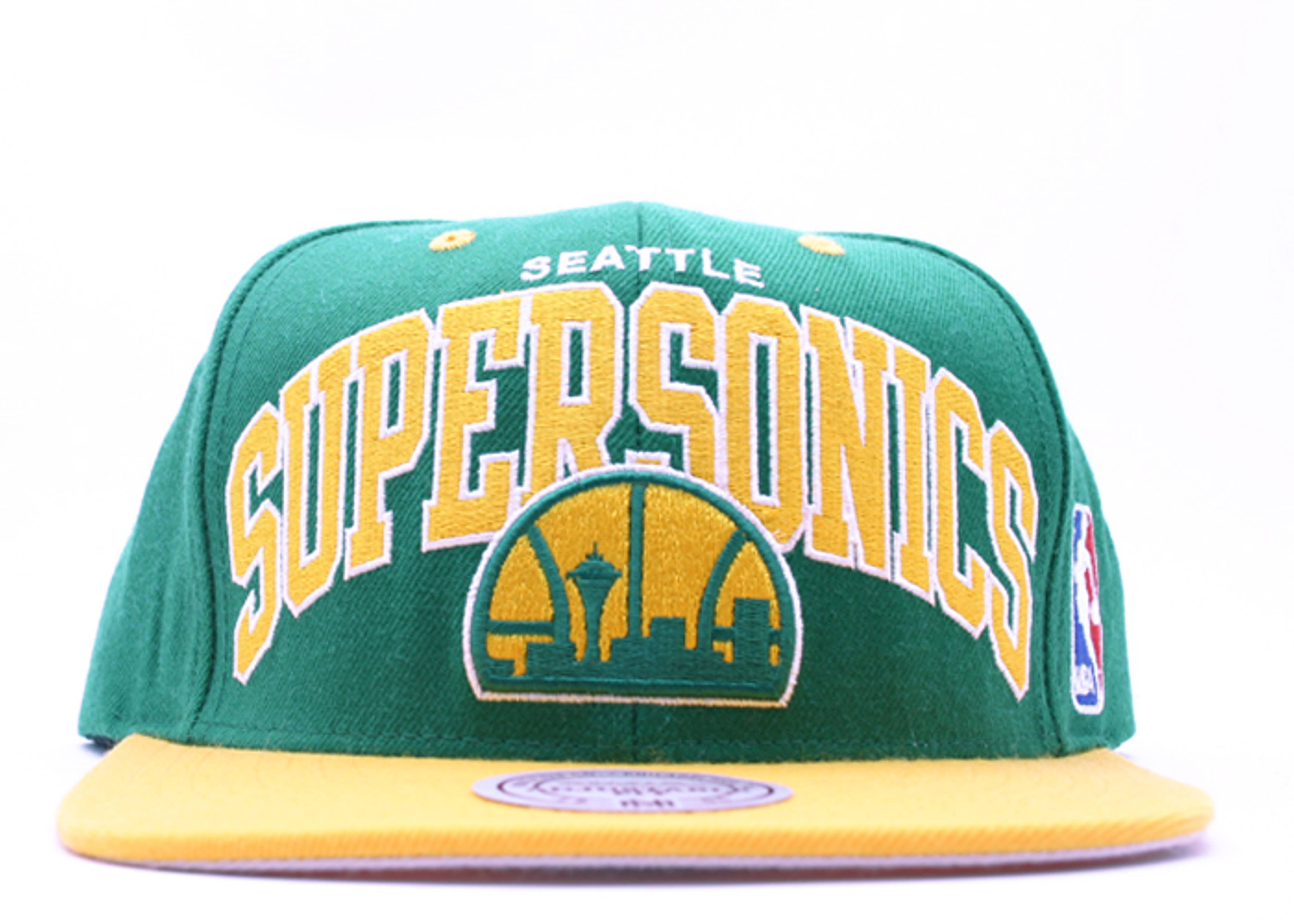 "seattle supersonics 2tone snap-back ""arch logo"""