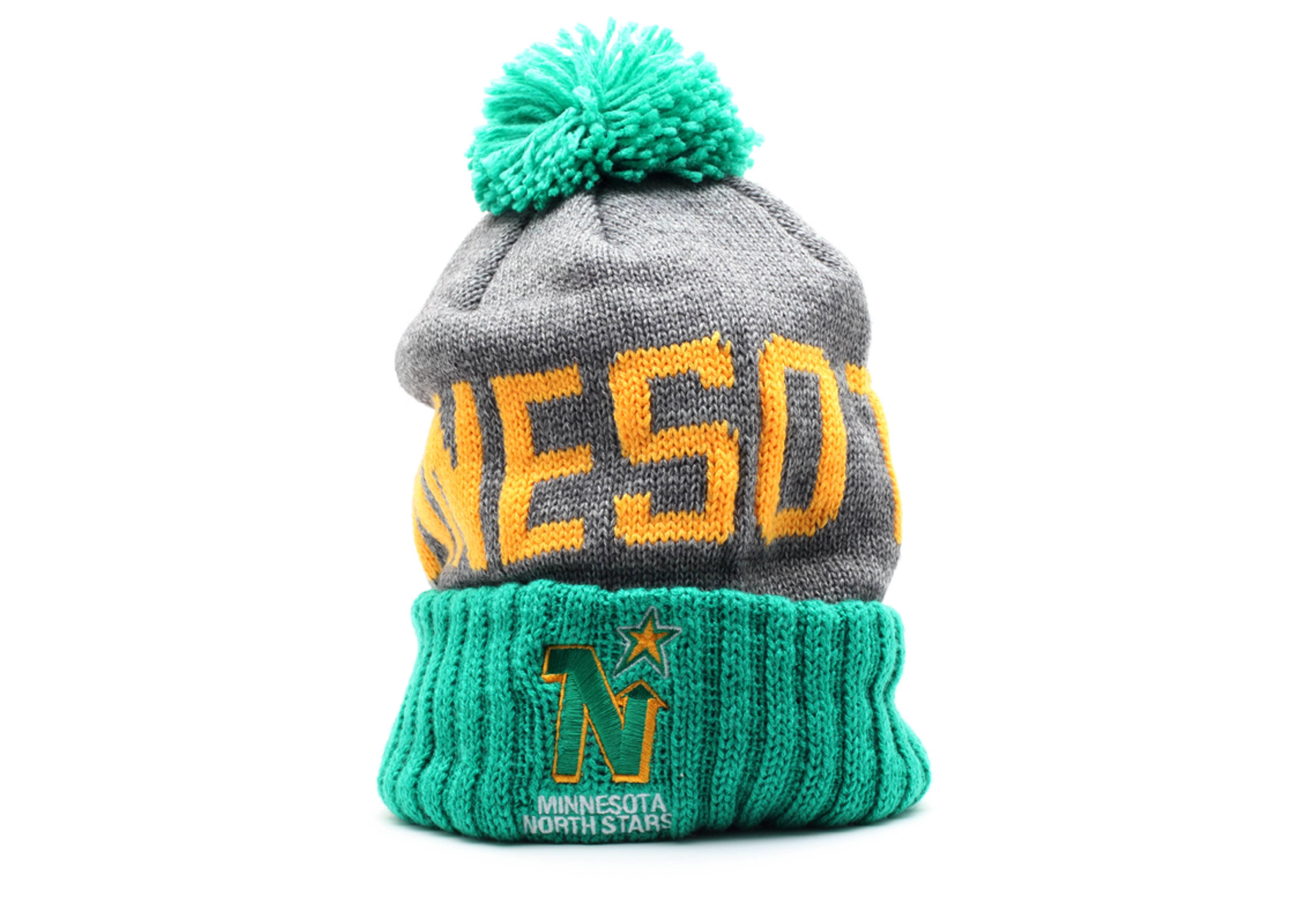 minnesota north stars cuffed pom knit beanie