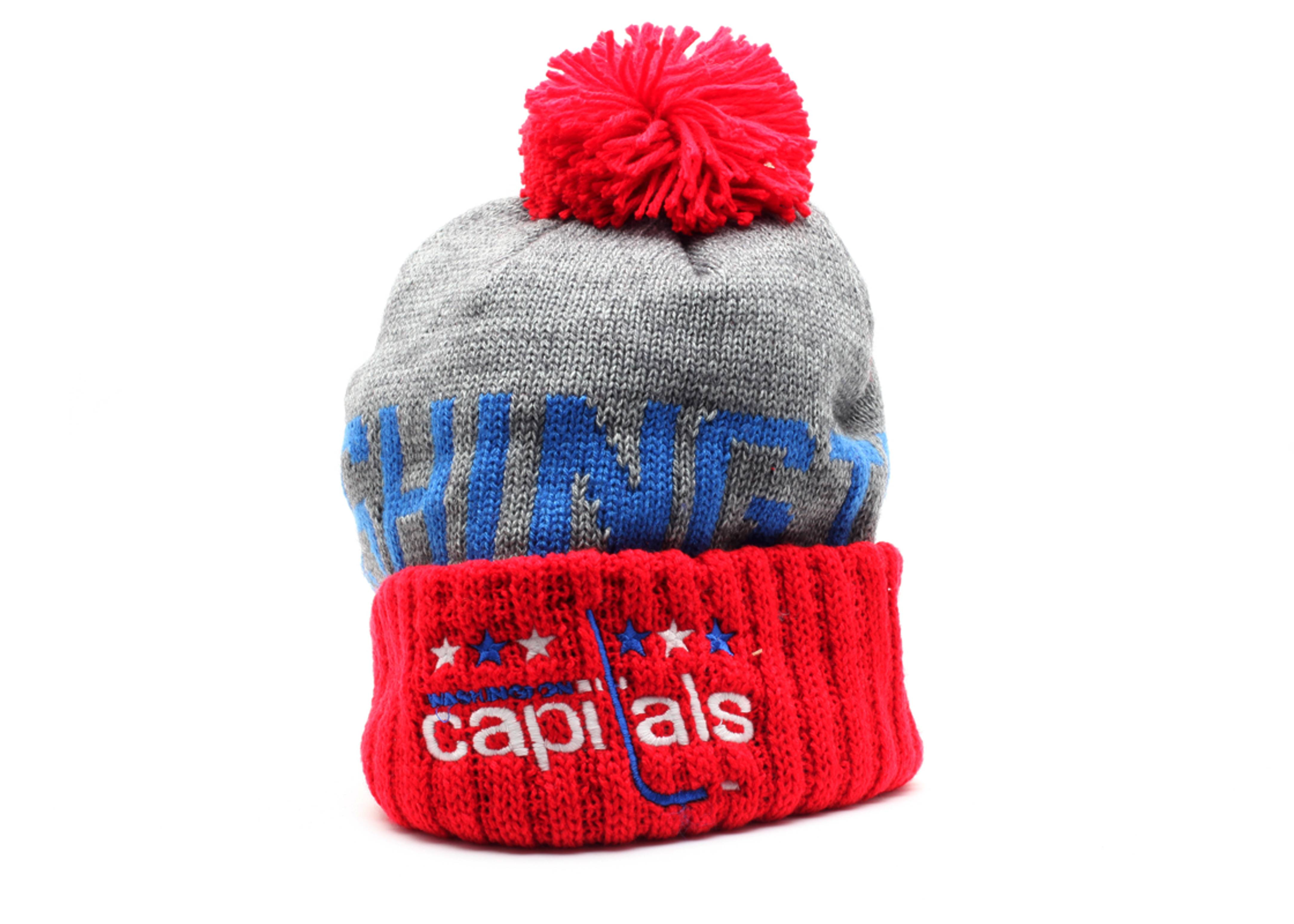 55540751be1 Washington Capitals Cuffed Pom Knit Beanie - Mitchell   Ness -  ke33gte7capit - gray red-blue