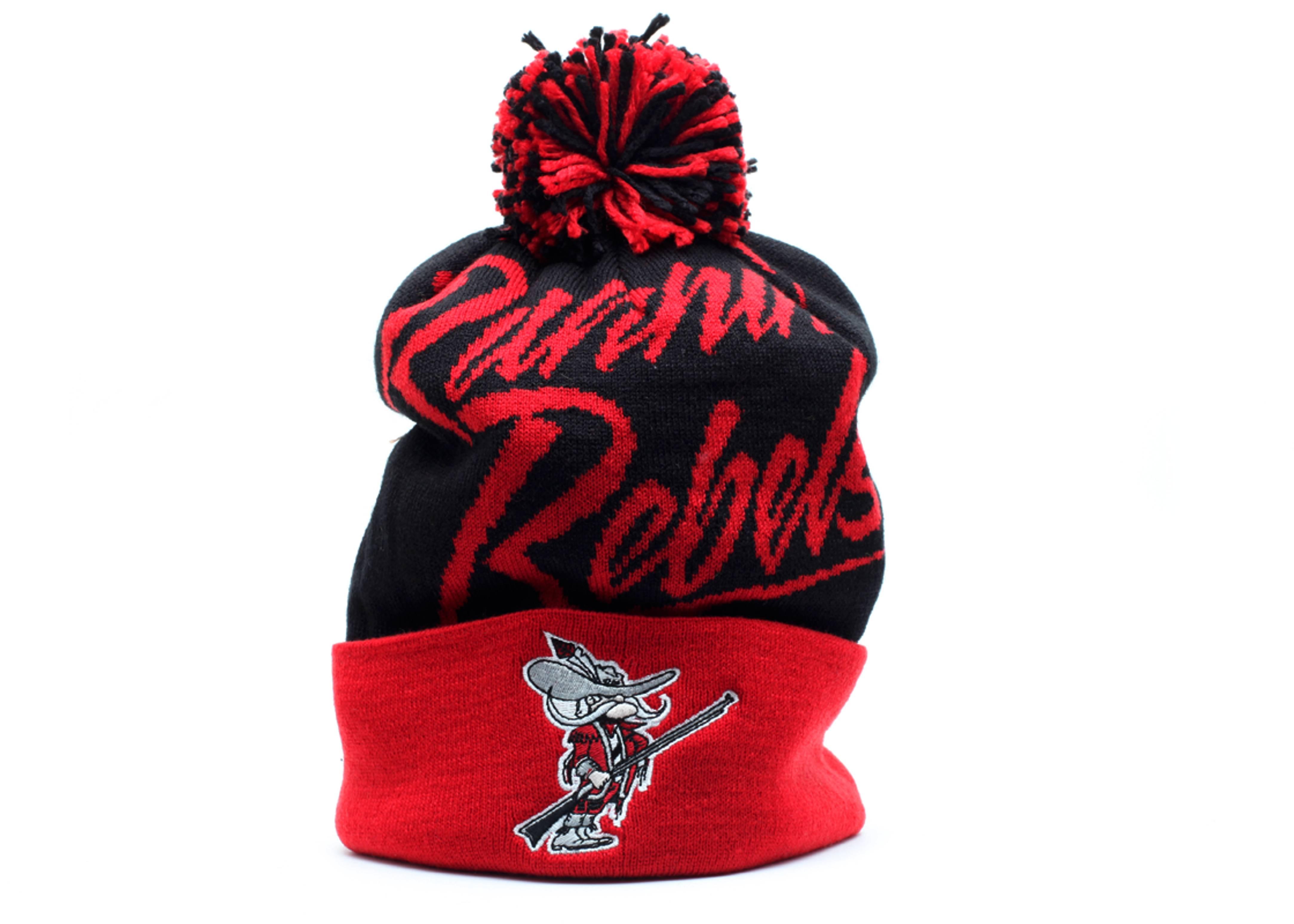 unlv rebels cuffed pom knit beanie red/black