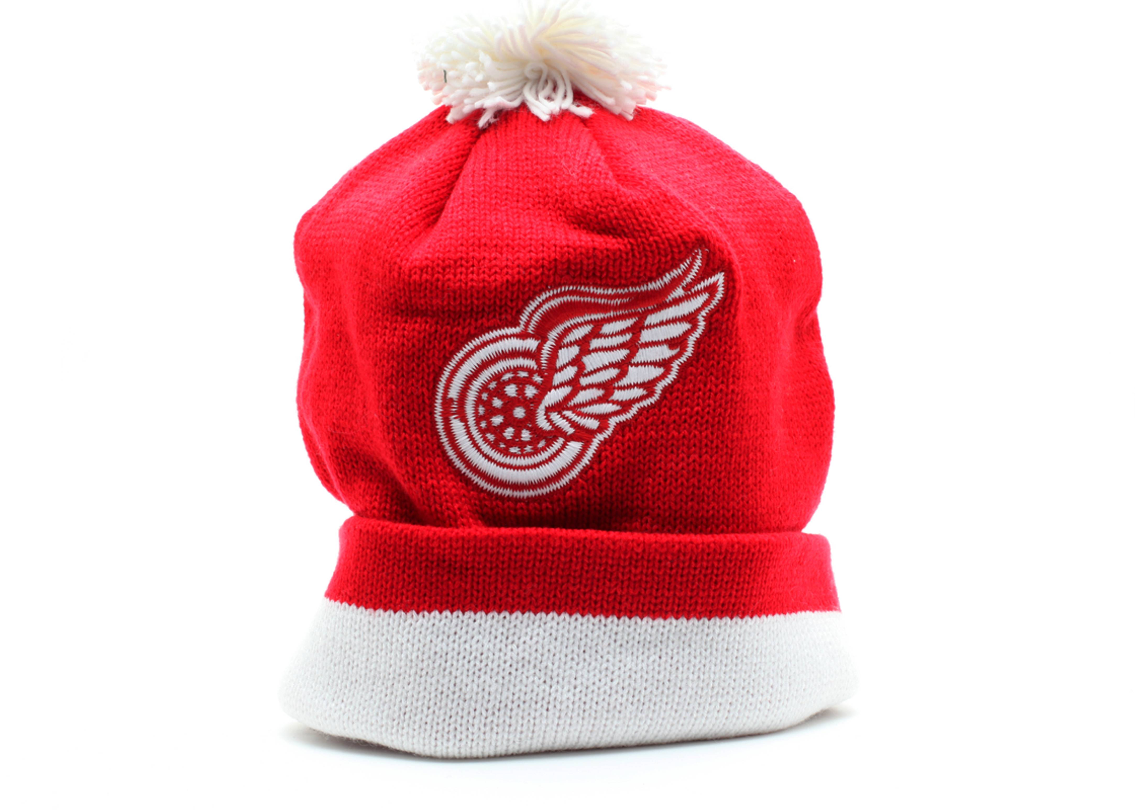 detroit redwings cuffed pom knit beanie