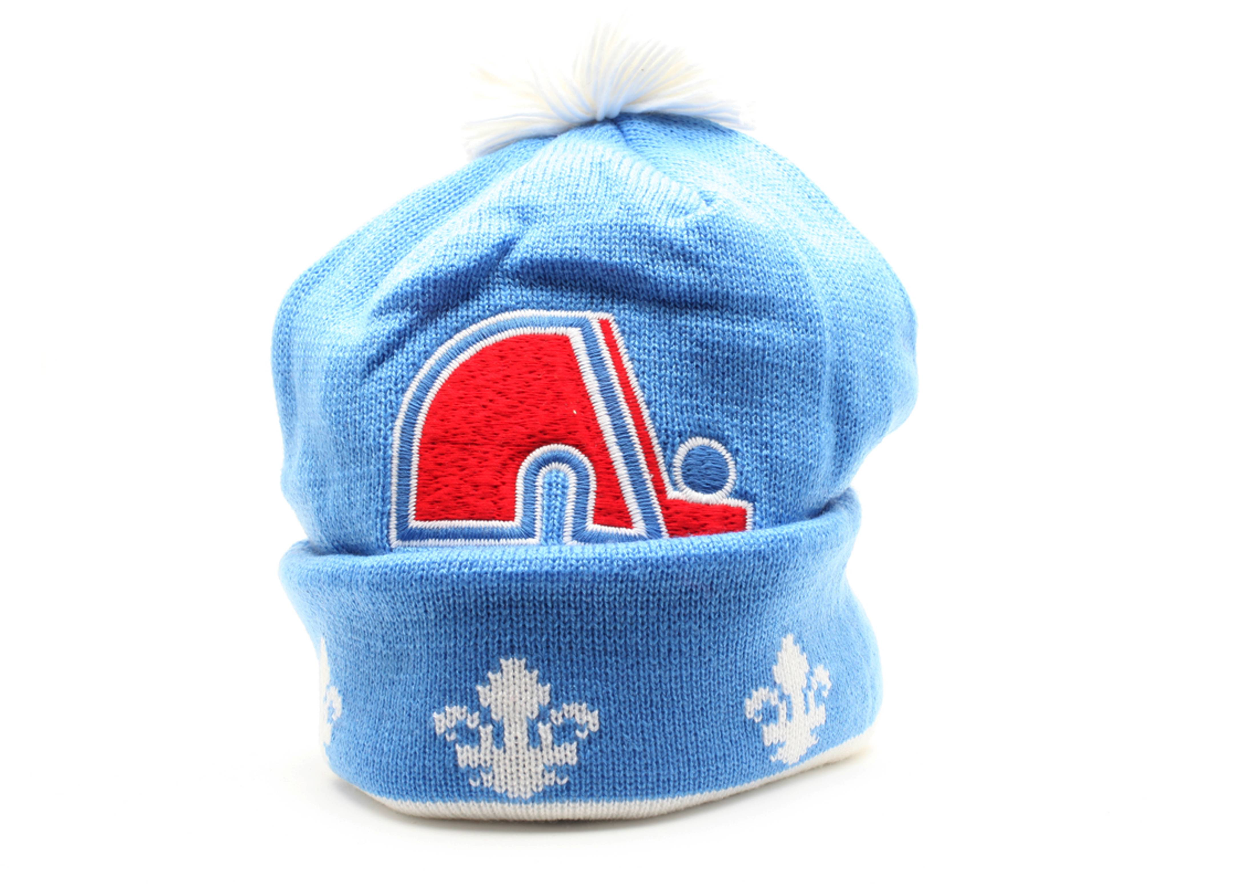 quebec nordiques cuffed pom knit beanie