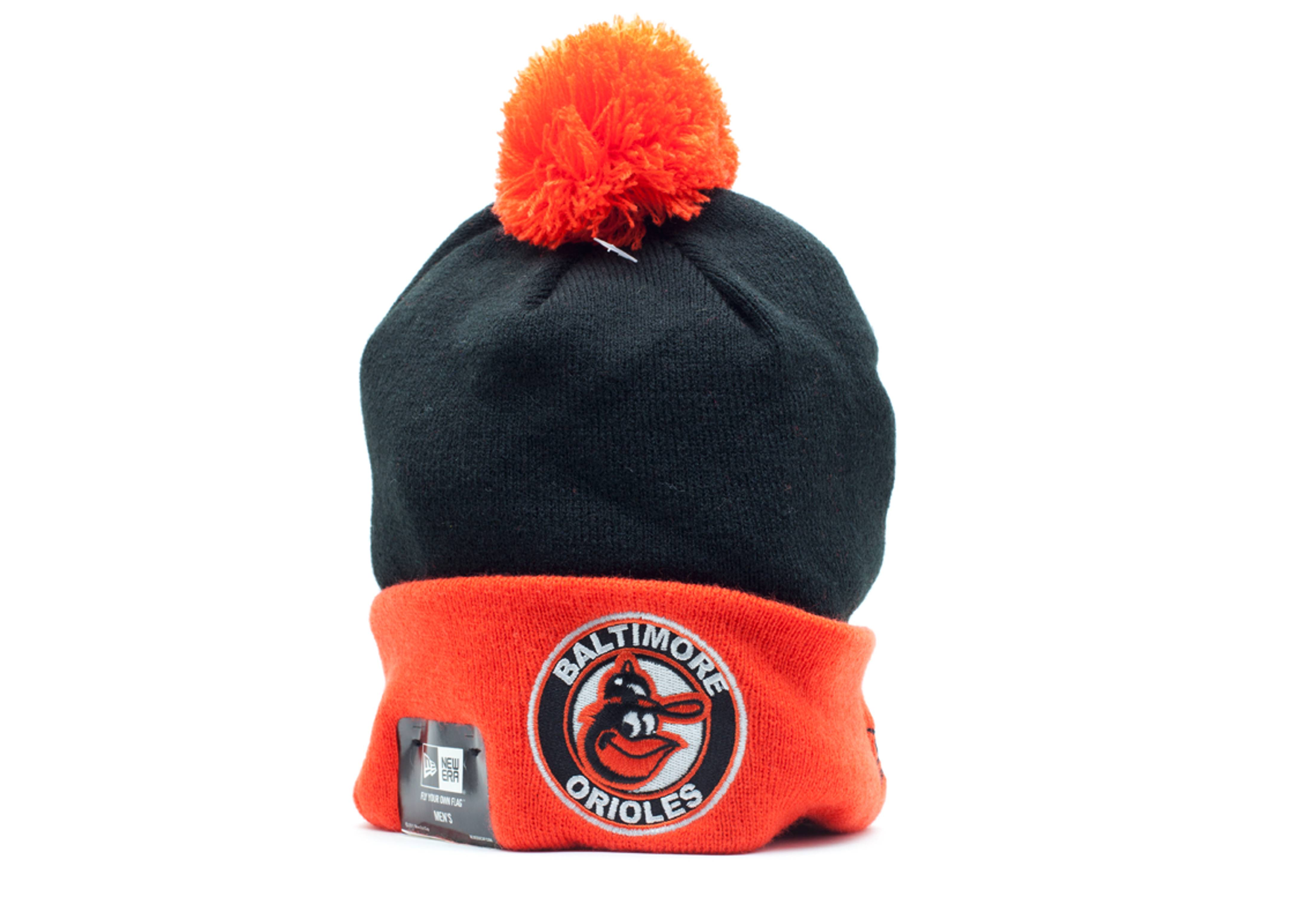 baltimore orioles cuffed pom knit beanie
