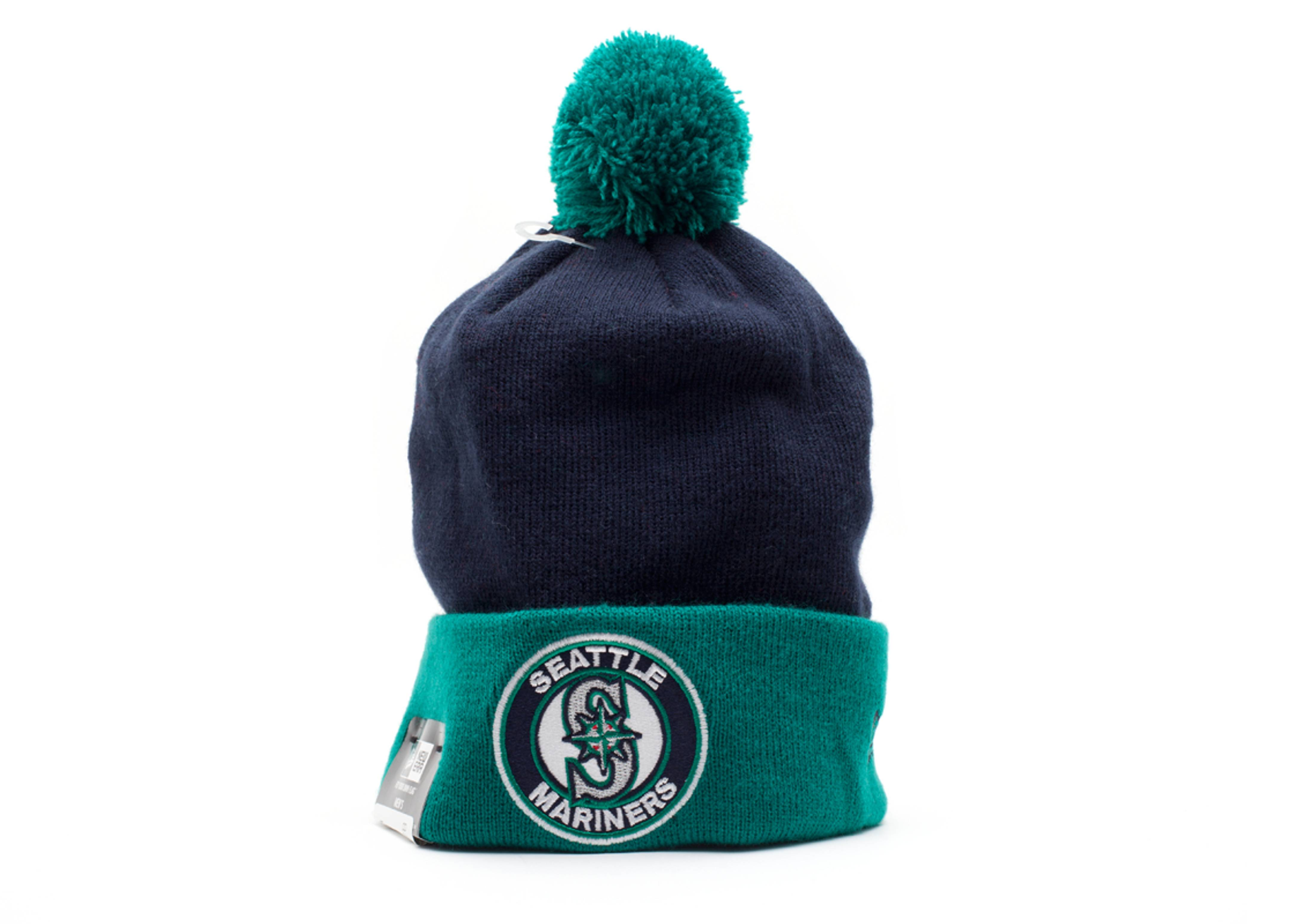 seattle mariners cuffed pom knit beanie