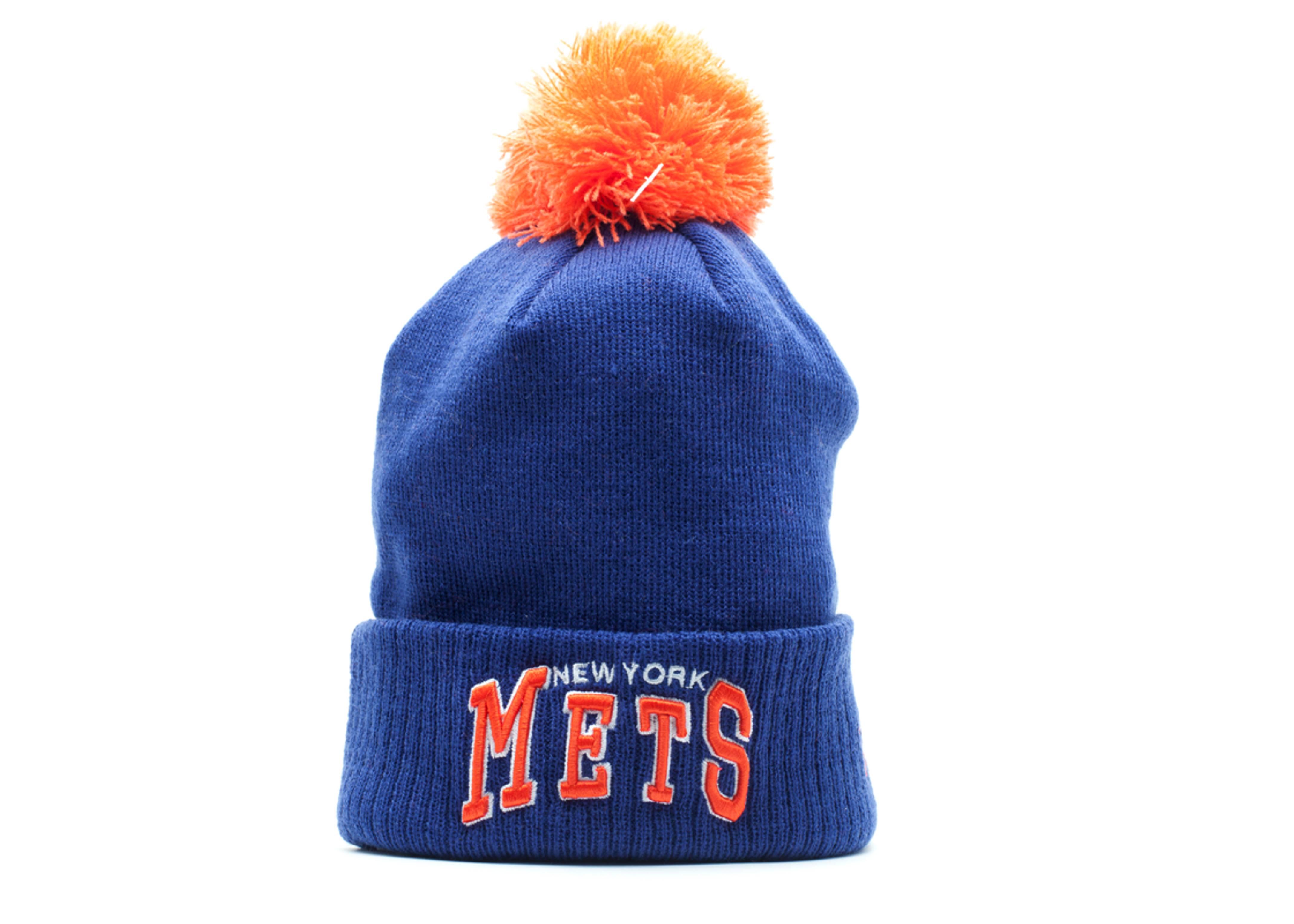 new york mets cuffed pom knit beanie