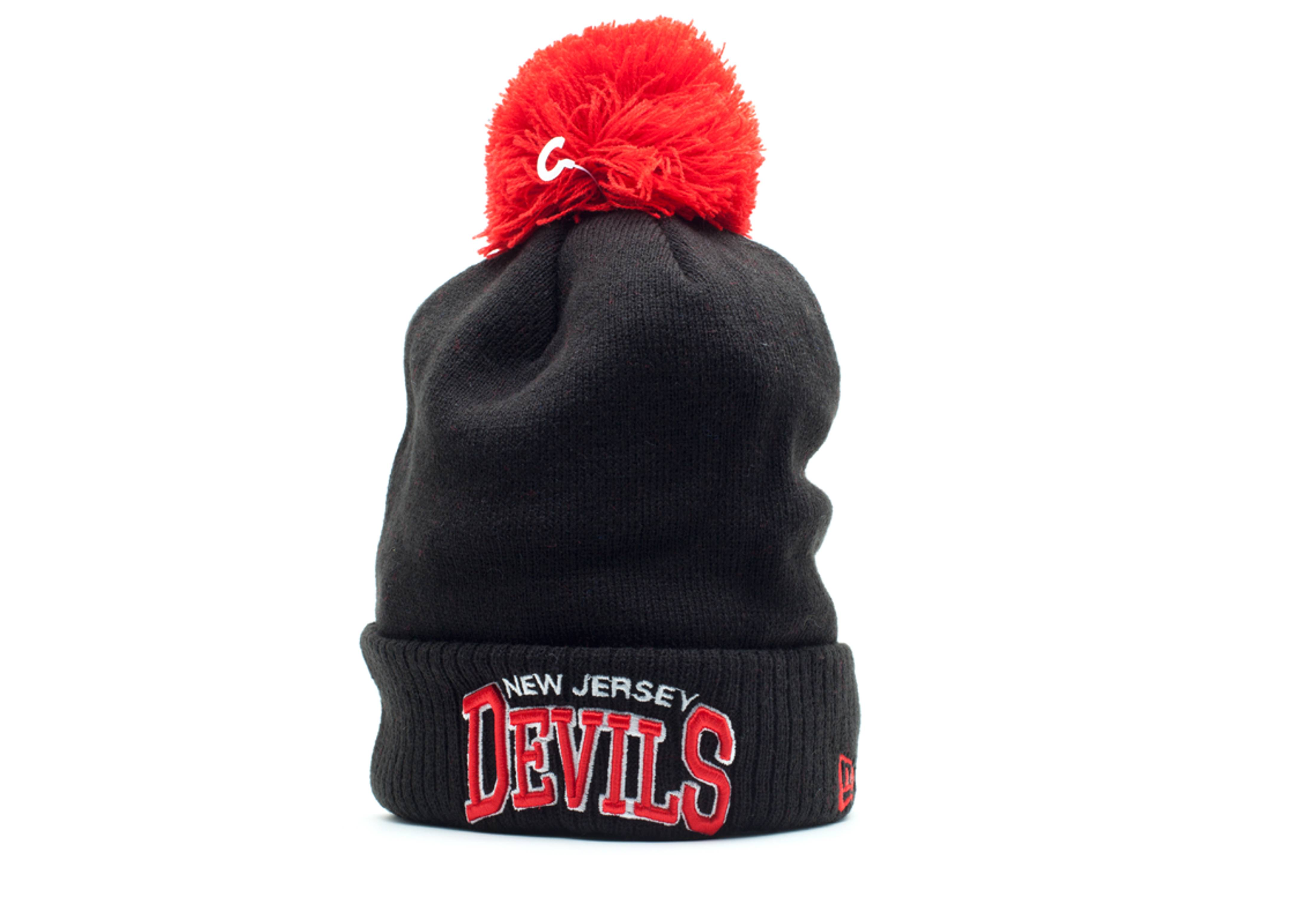 new jersey devils cuffed pom knit beanie