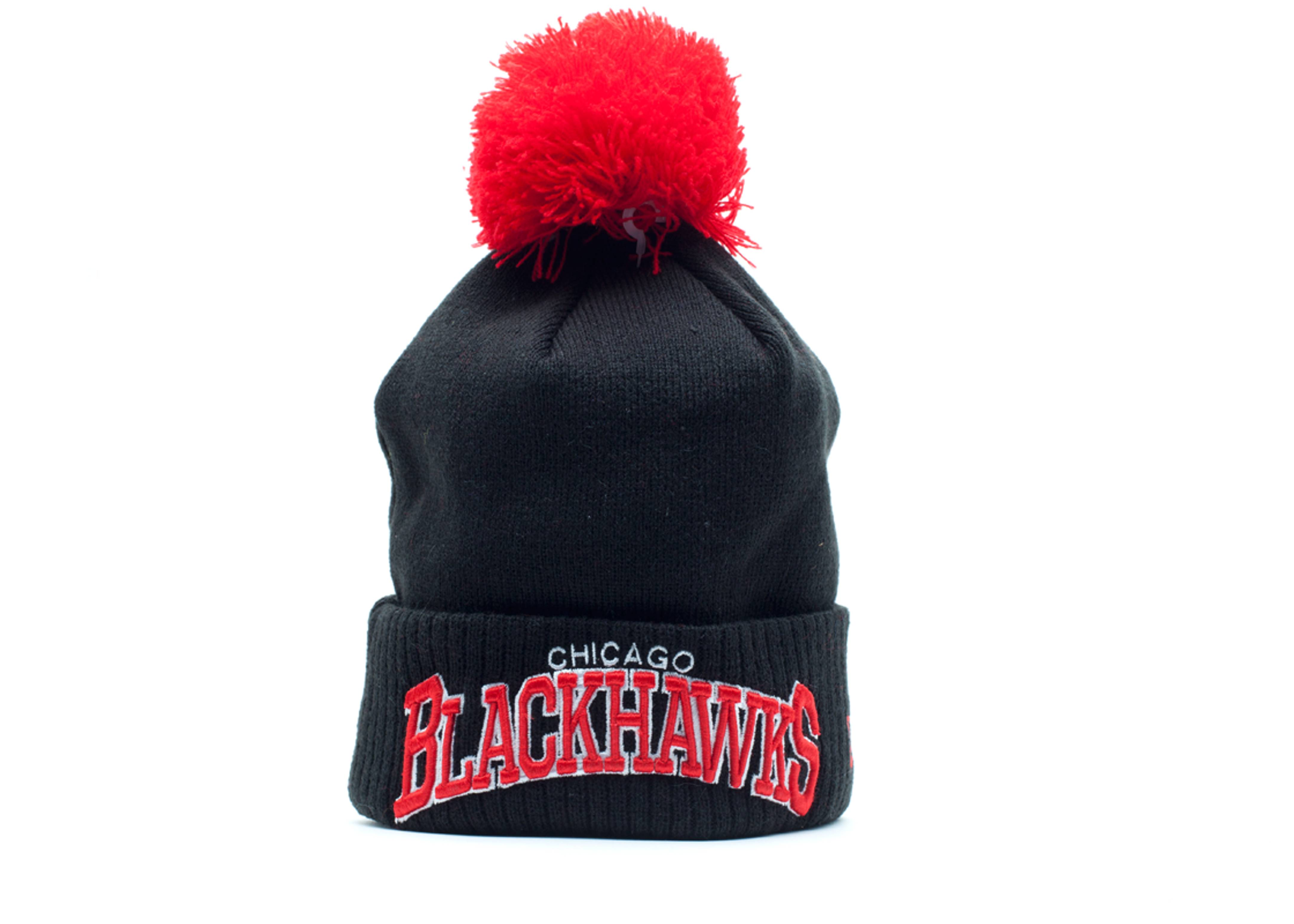 chicago blackhawks cuffed pom knit beanie