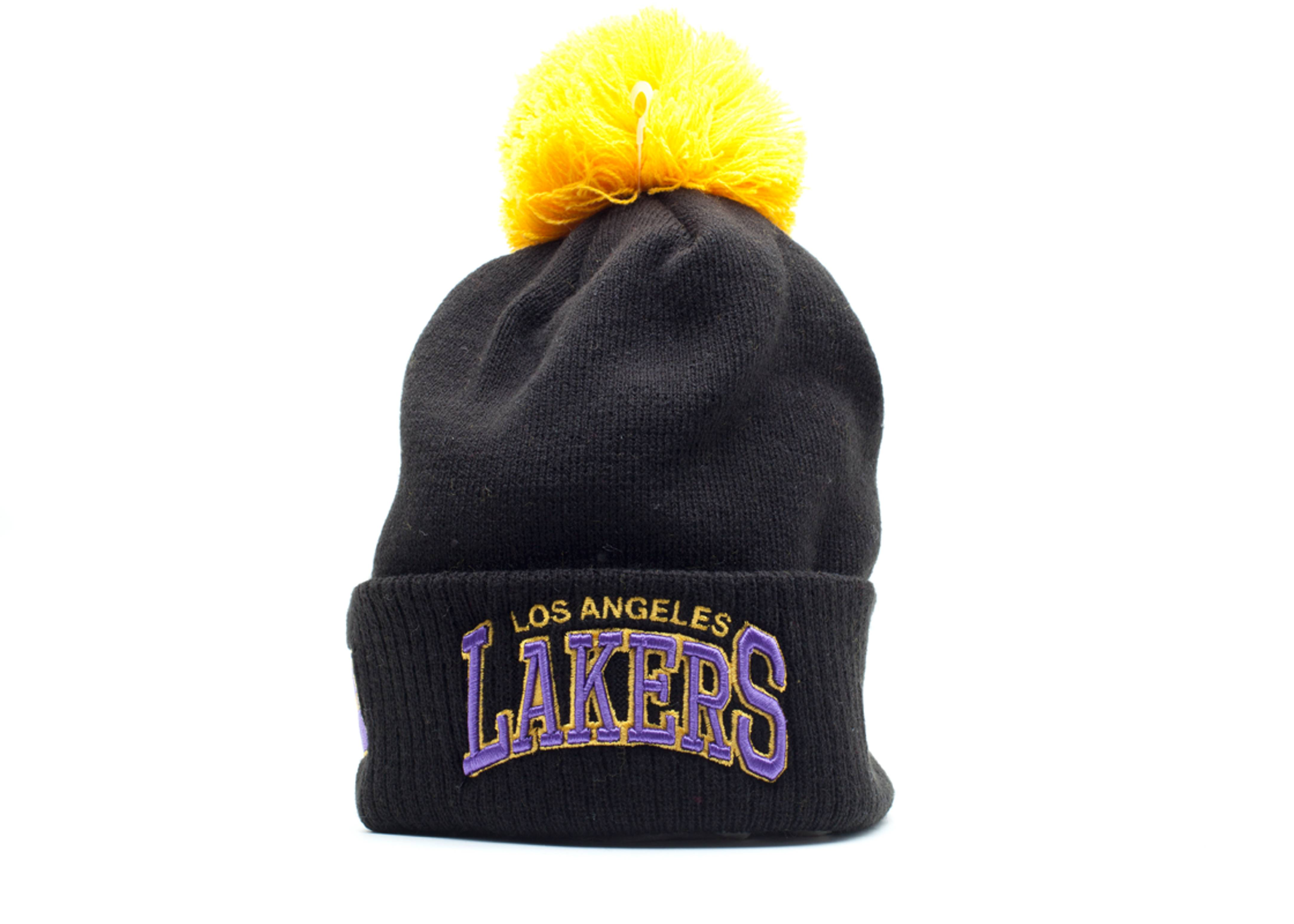 los angeles lakers cuffed pom beanie