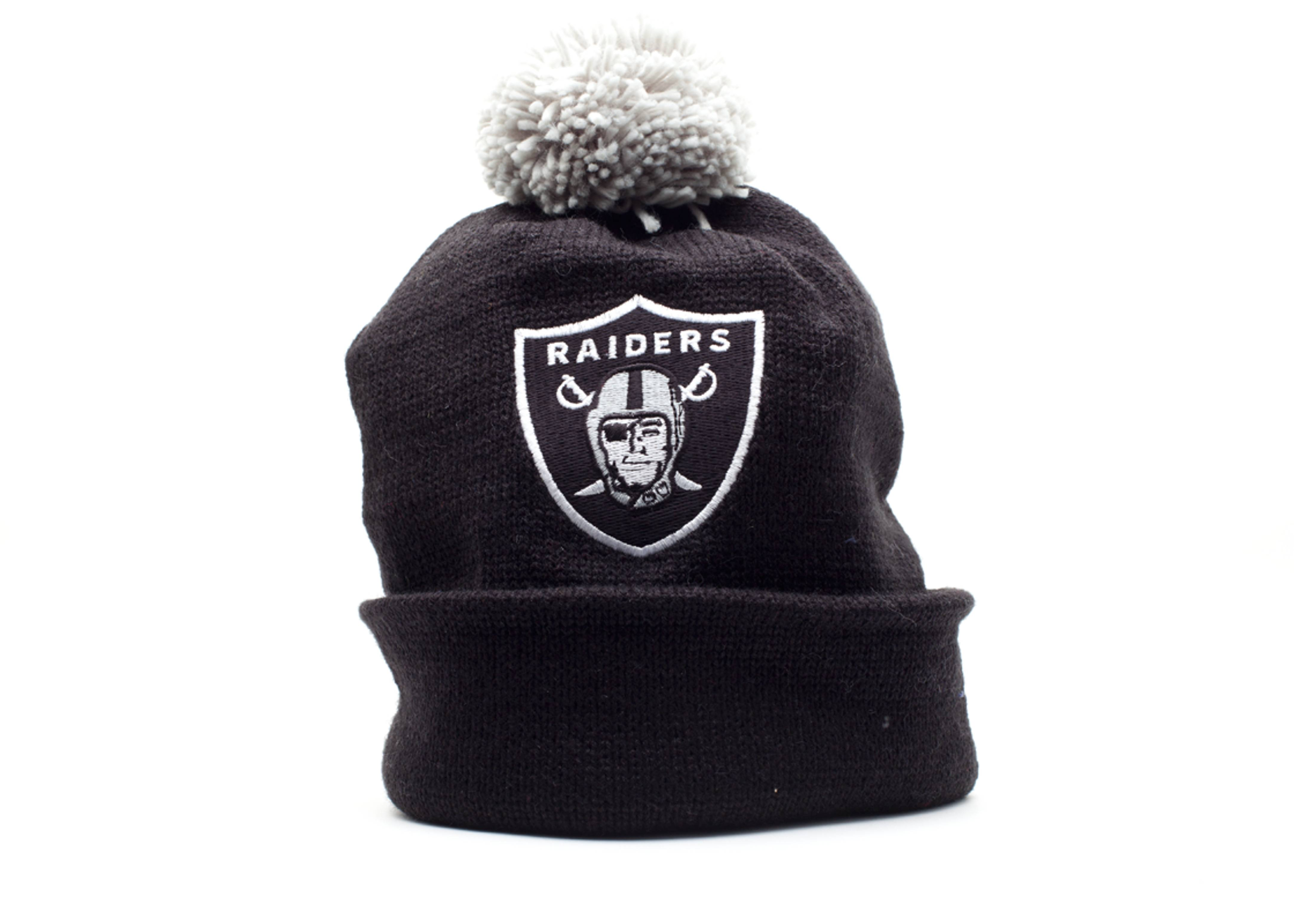 oakland raiders cuffed pom knit beanie