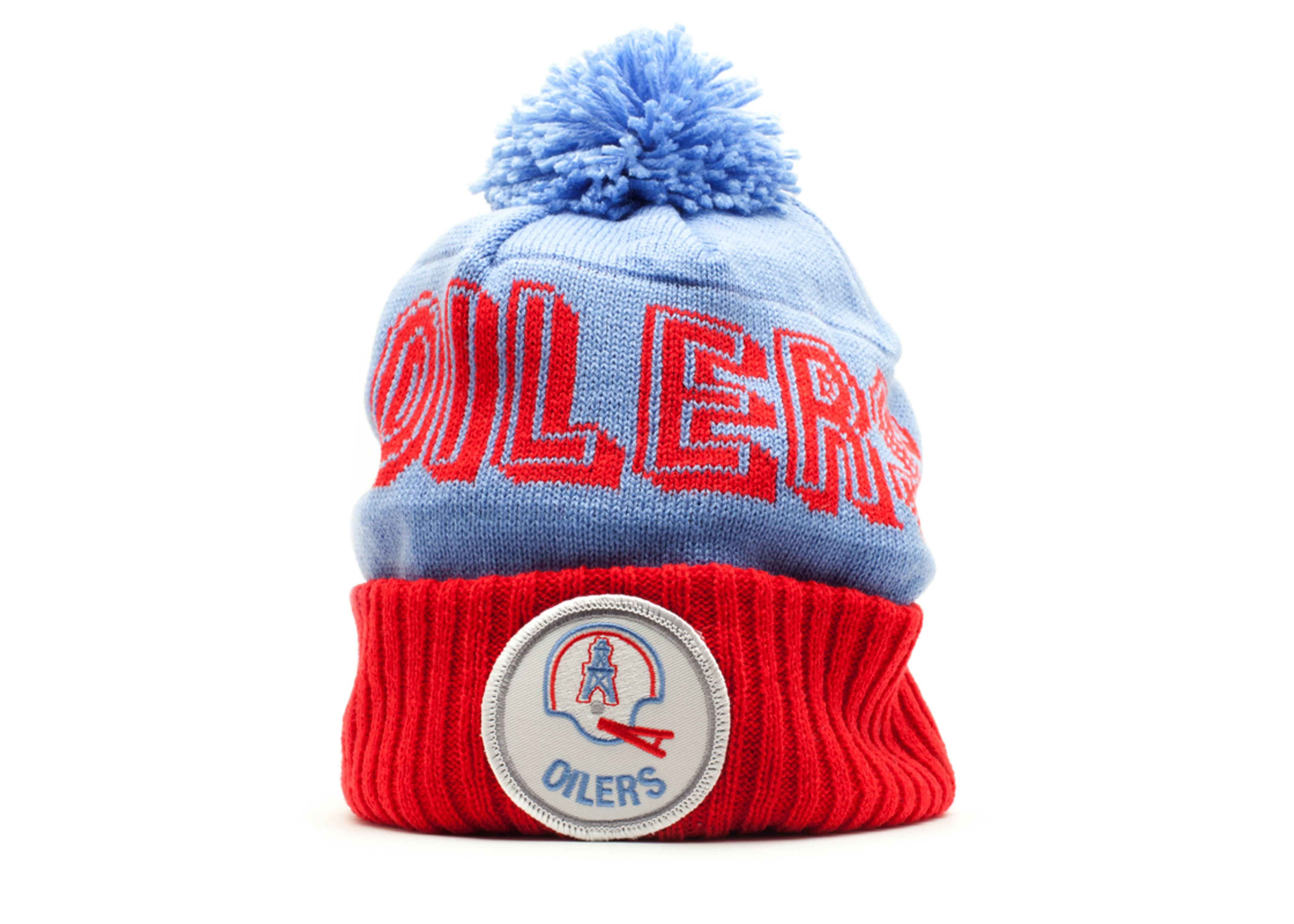 6a29a9944 Houston Oilers Cuffed Pom Knit Beanie - Mitchell   Ness - ke30mtc6oiler - light  blue red
