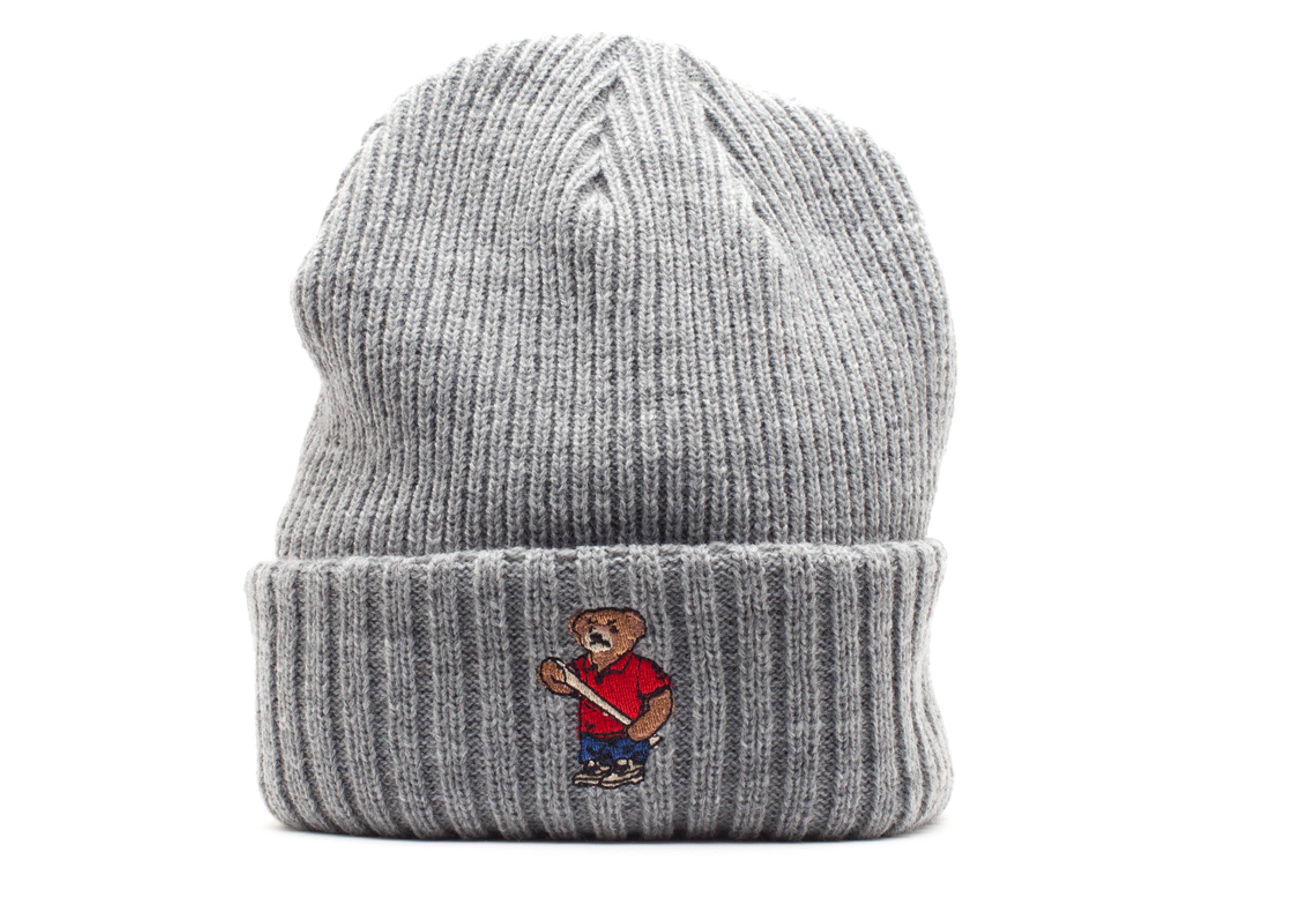 angry lo bear cuffed knit beanie