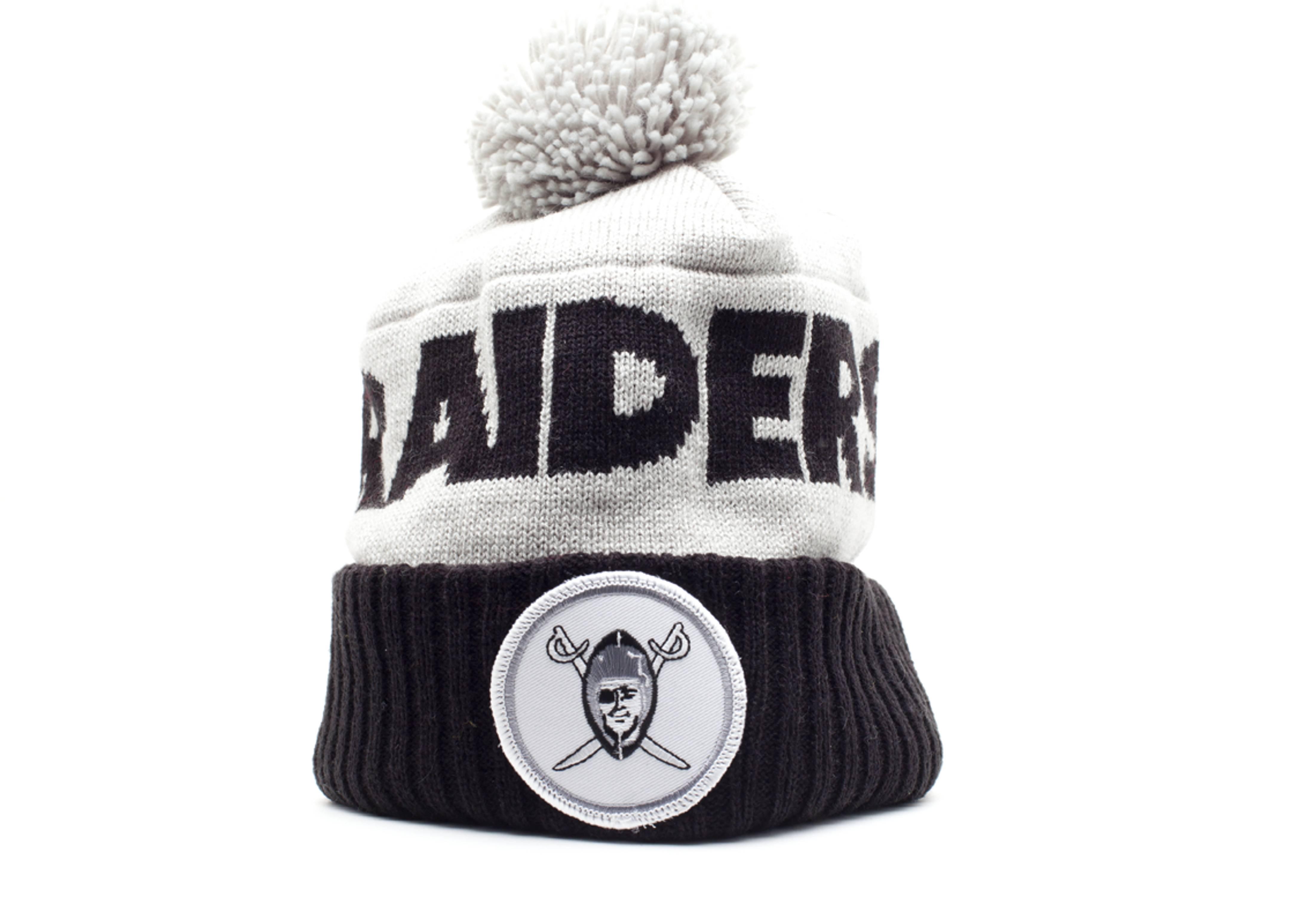 cfb42600898 Oakland Raiders Cuffed Pom Knit Beanie - Mitchell   Ness - ke30mtc6raide -  gray black