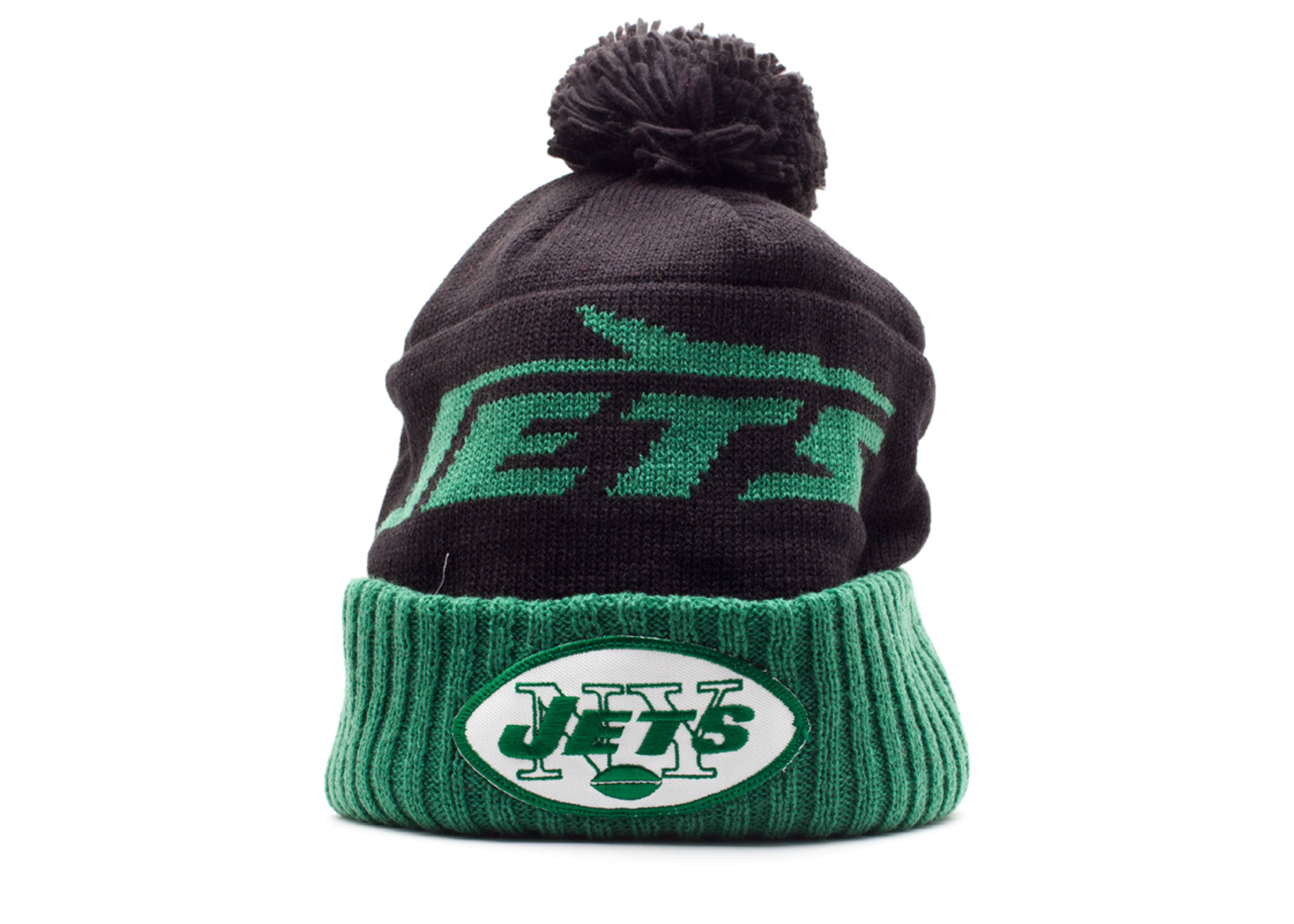 new york jets cuffed pom knit beanie