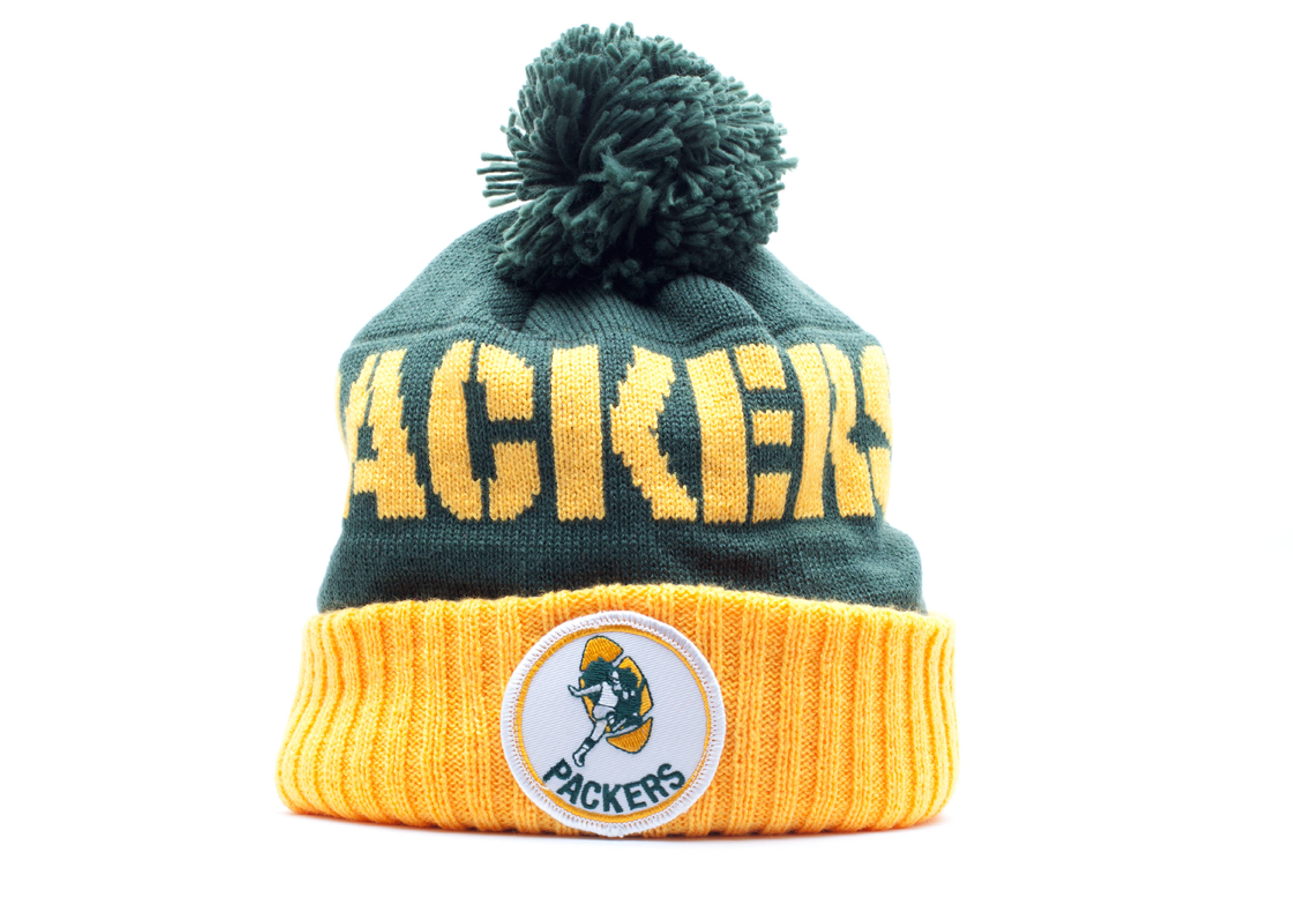 green bay packers cuffed pom knit beanie