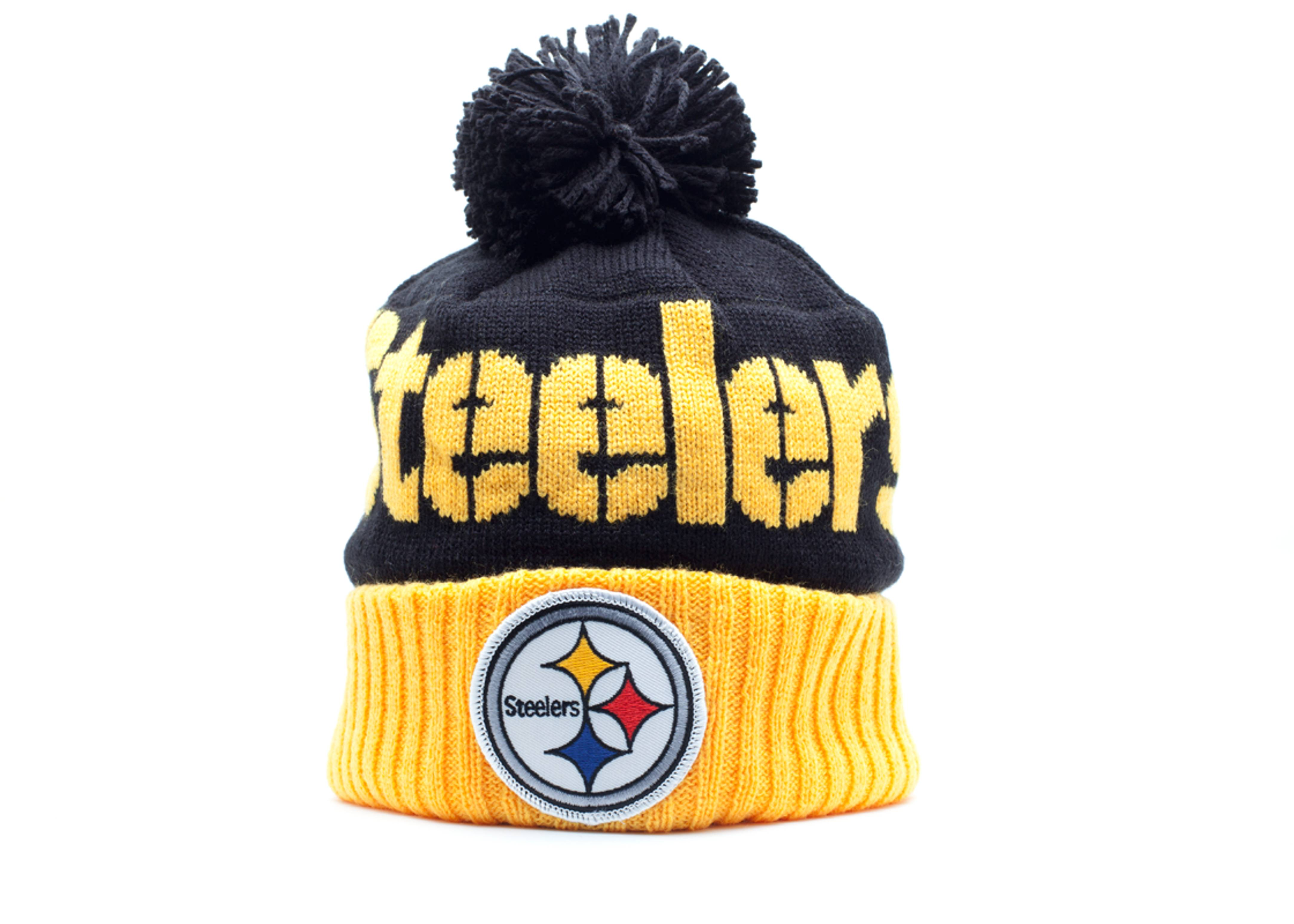 pittsburgh steelers cuffed pom knit beanie