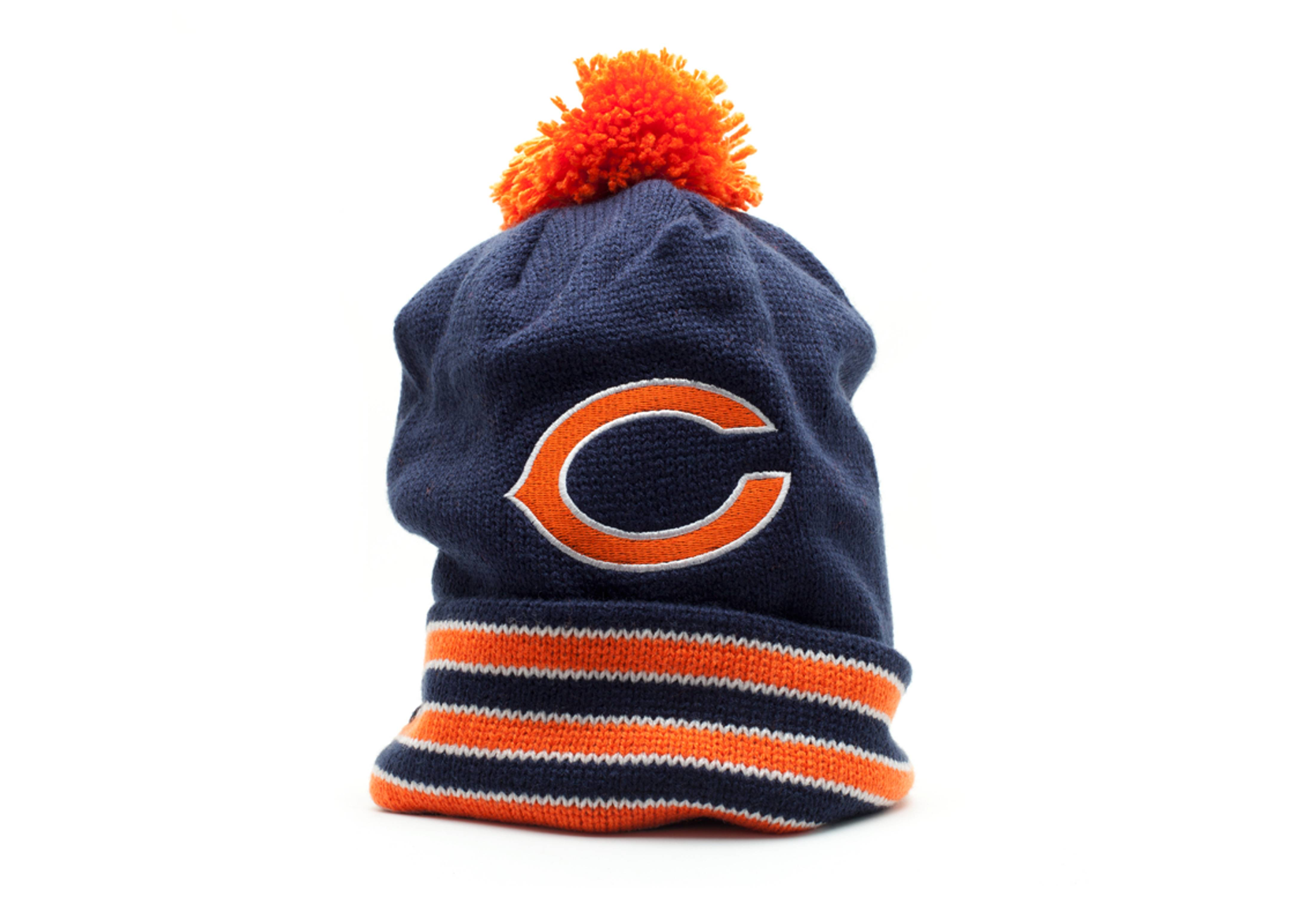 chicago bears cuffed pom knit beanie