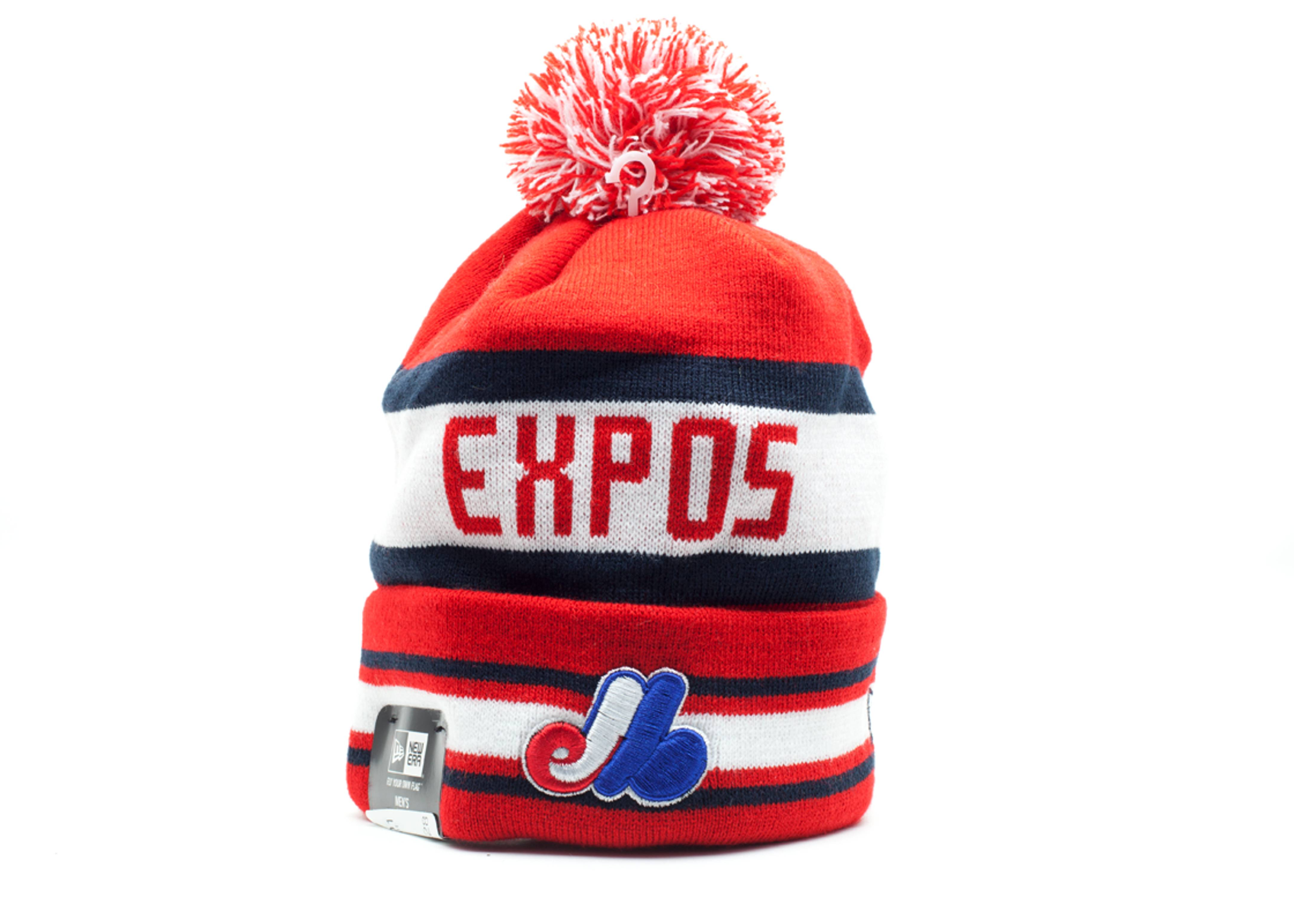 montreal expos cuffed pom knit beanie