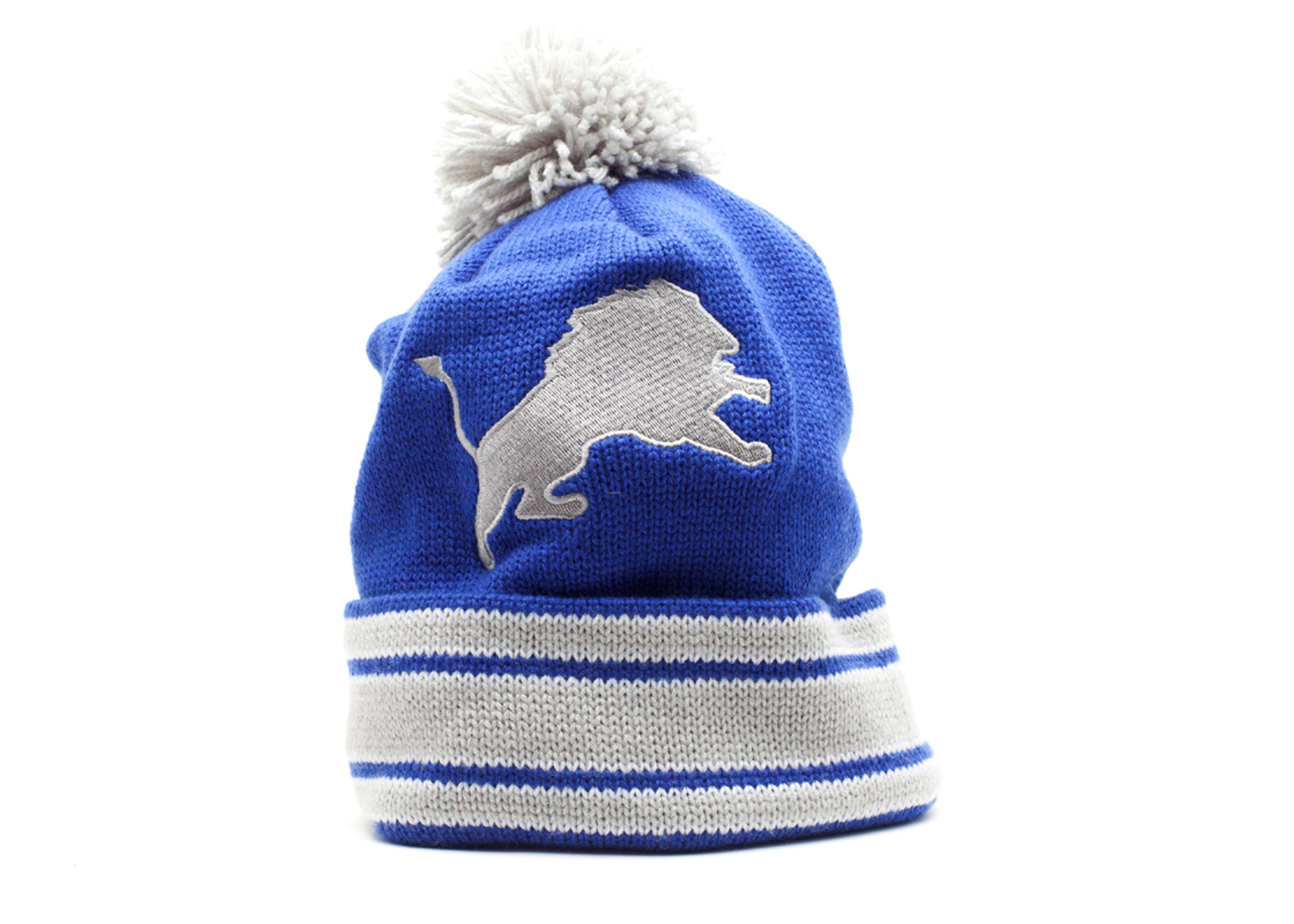 detroit lions cuffed pom knit beanie