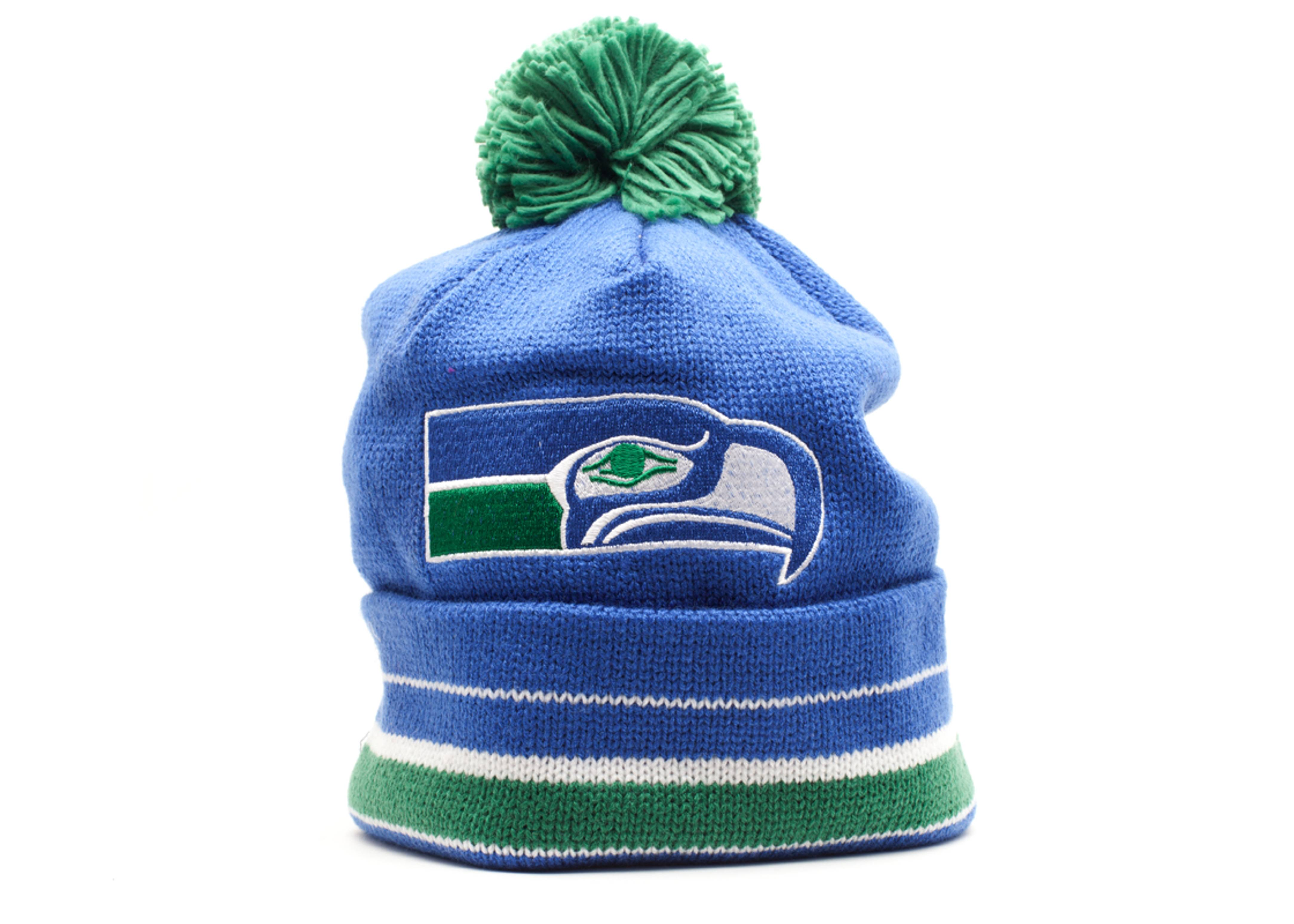 seattle seahawks cuffed pom knit beanie