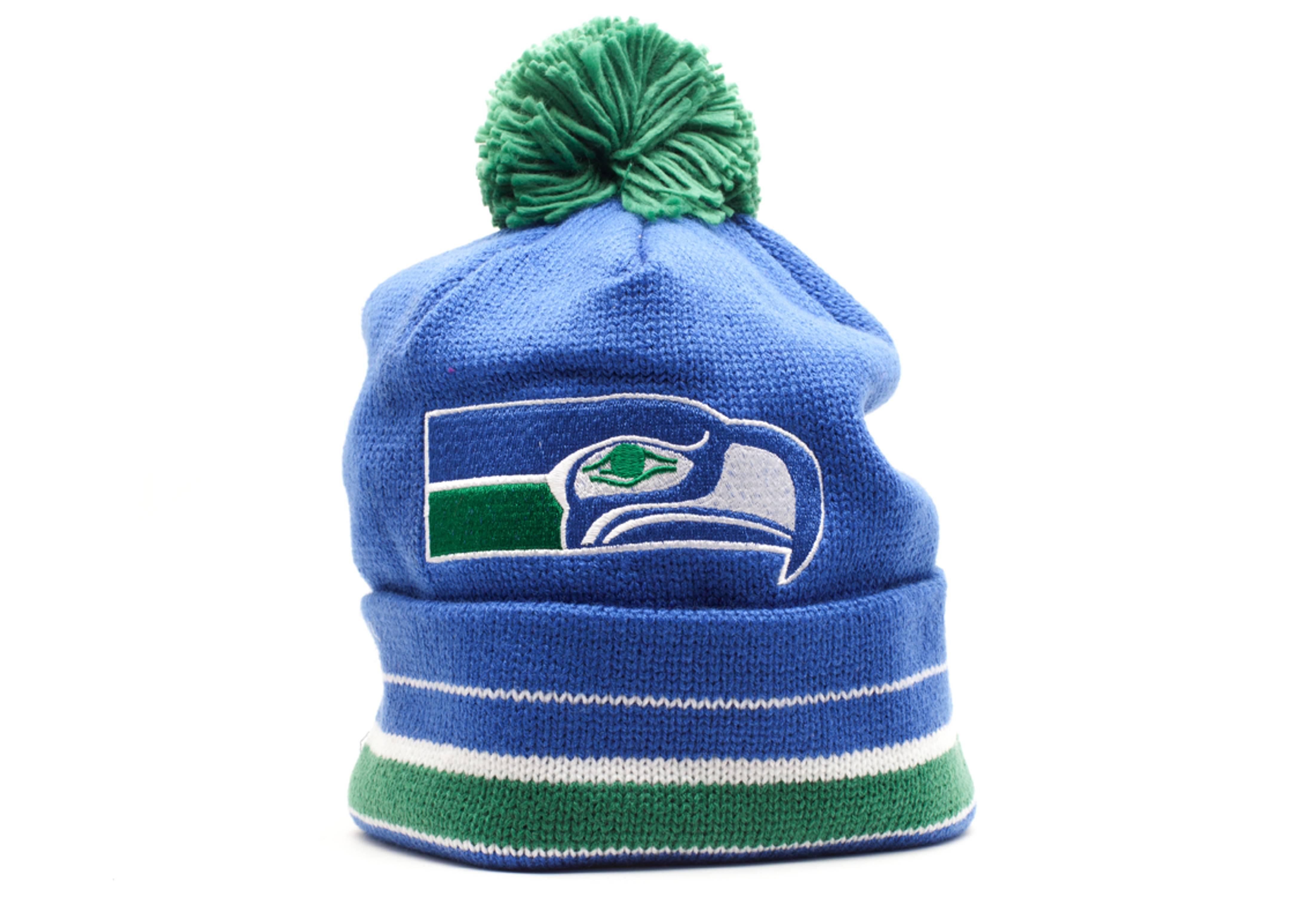 c416a07a Seattle Seahawks Cuffed Pom Knit Beanie - Mitchell & Ness ...