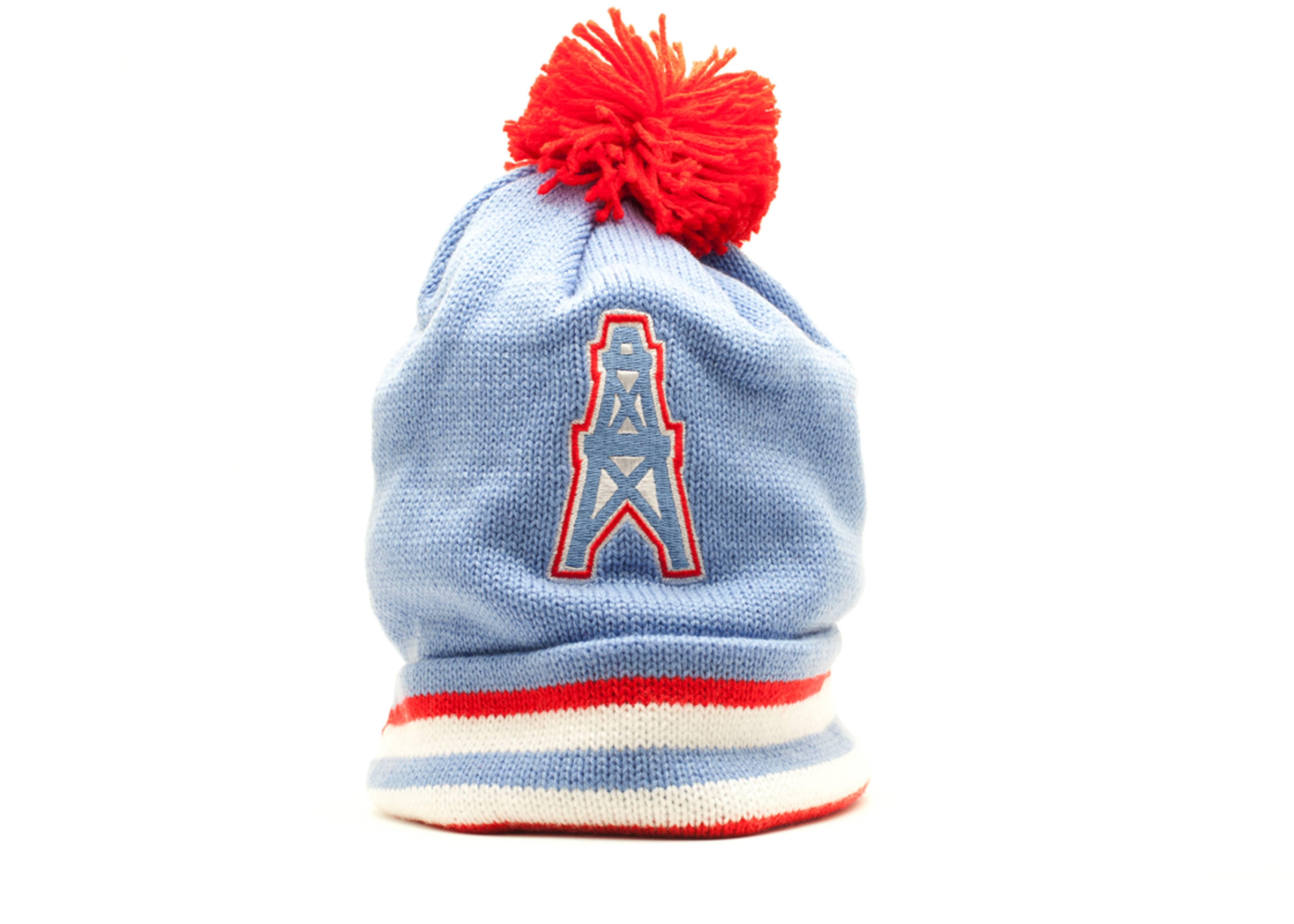 fe844db26ce Houston Oilers Cuffed Pom Knit Beanie - Mitchell   Ness ...