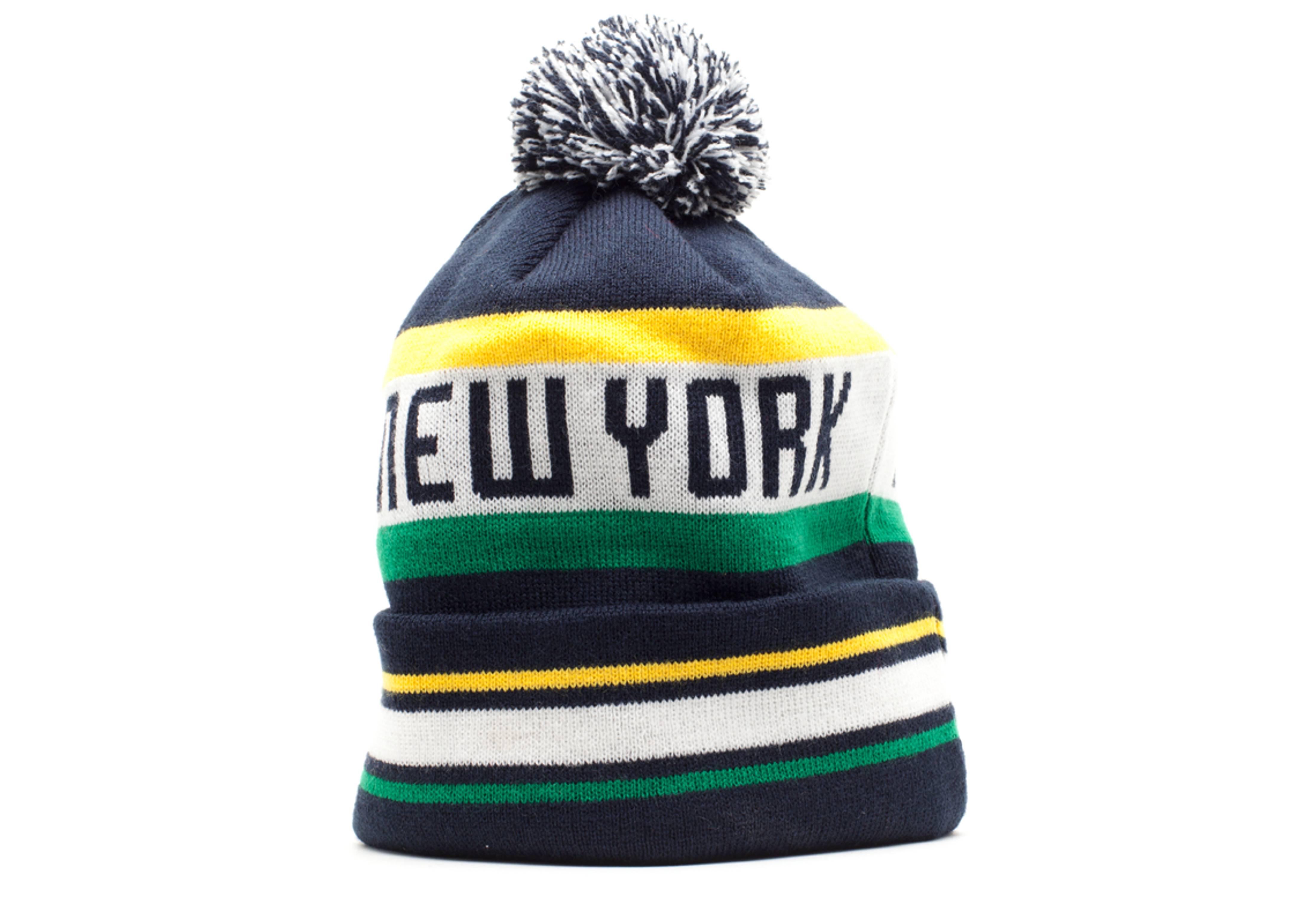 new york cosmos cuffed pom knit beanie