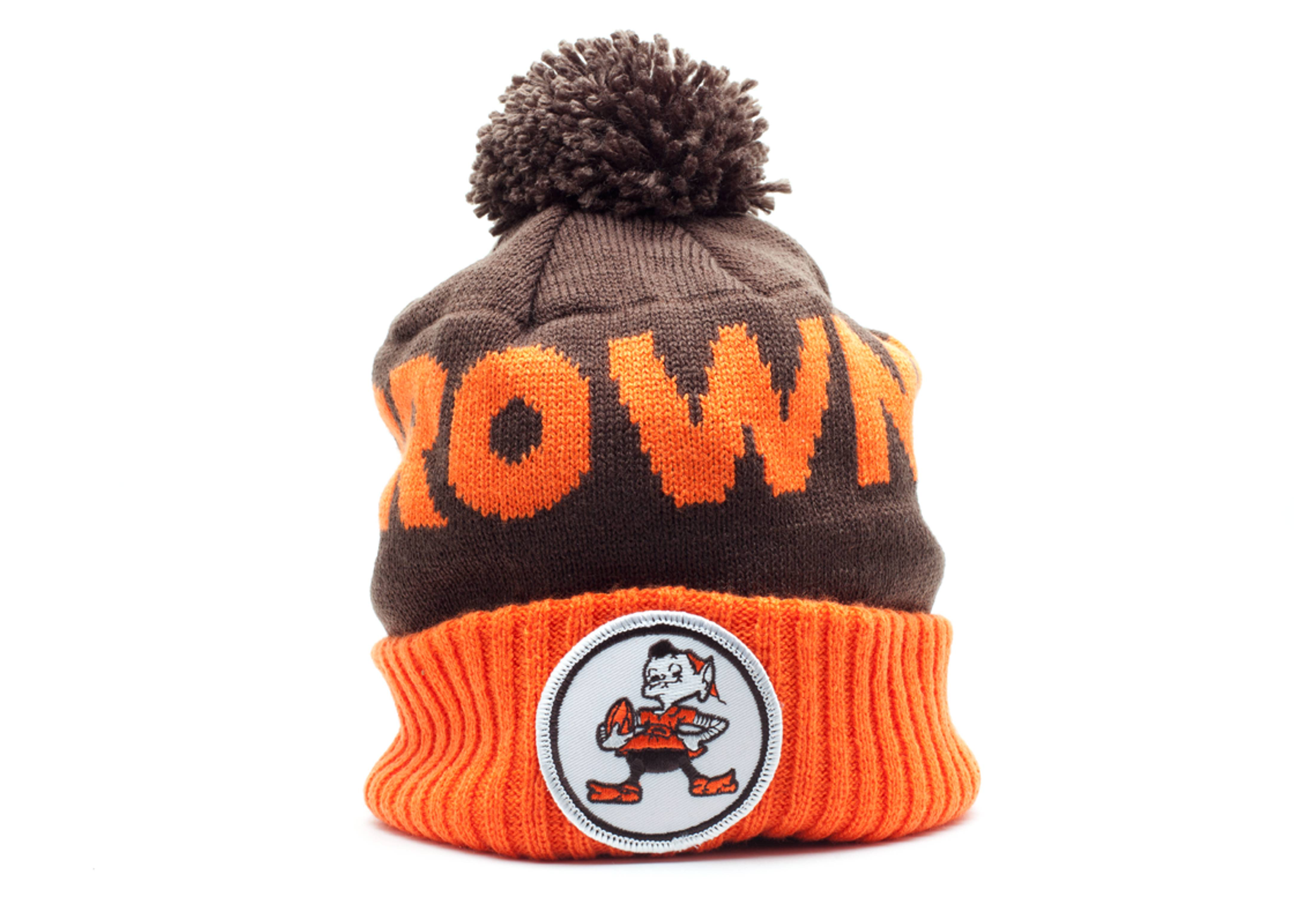 cleveland browns cuffed pom knit beanie