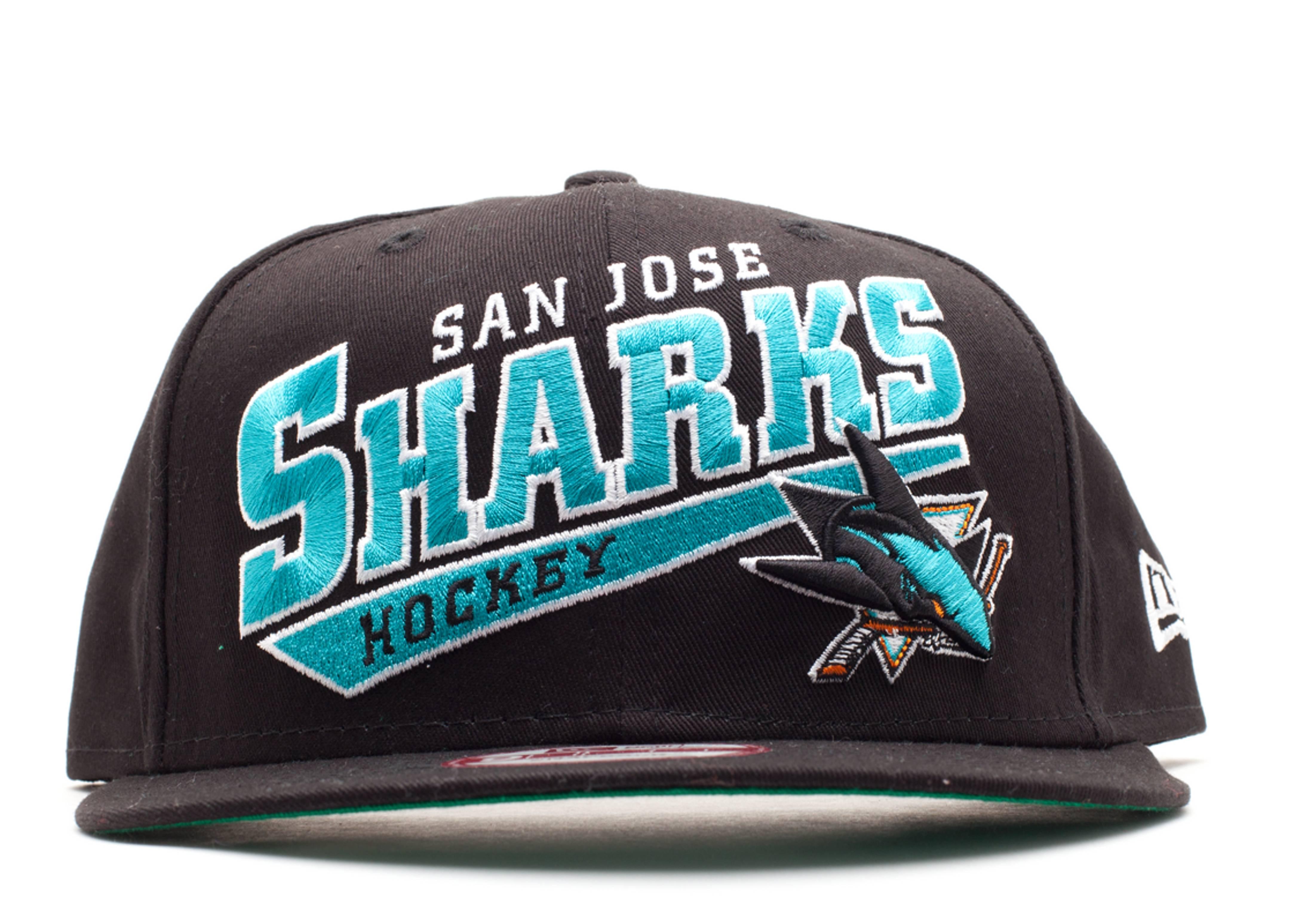 san jose sharks skew script snap-back