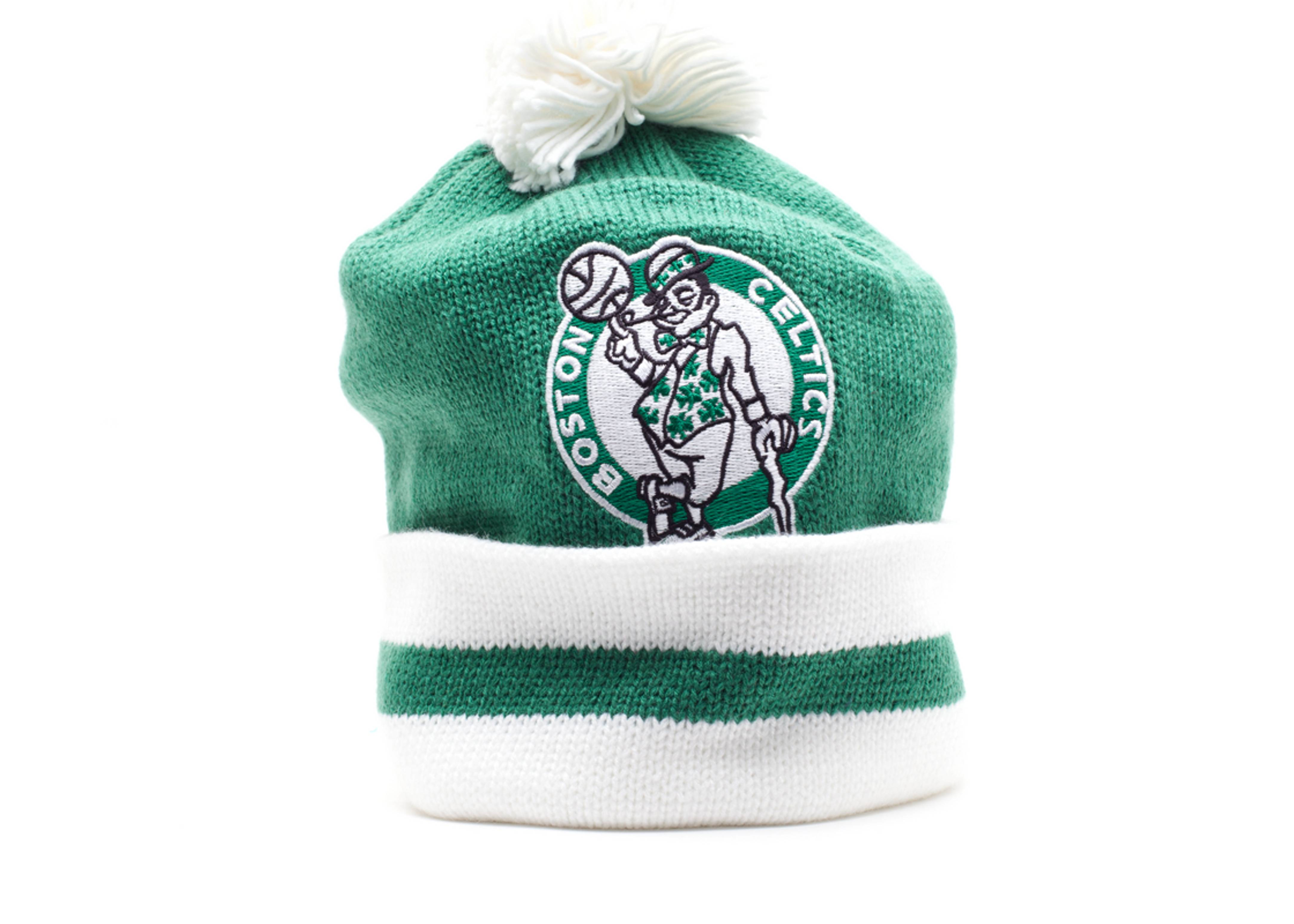 boston celtics cuffed pom knit beanie