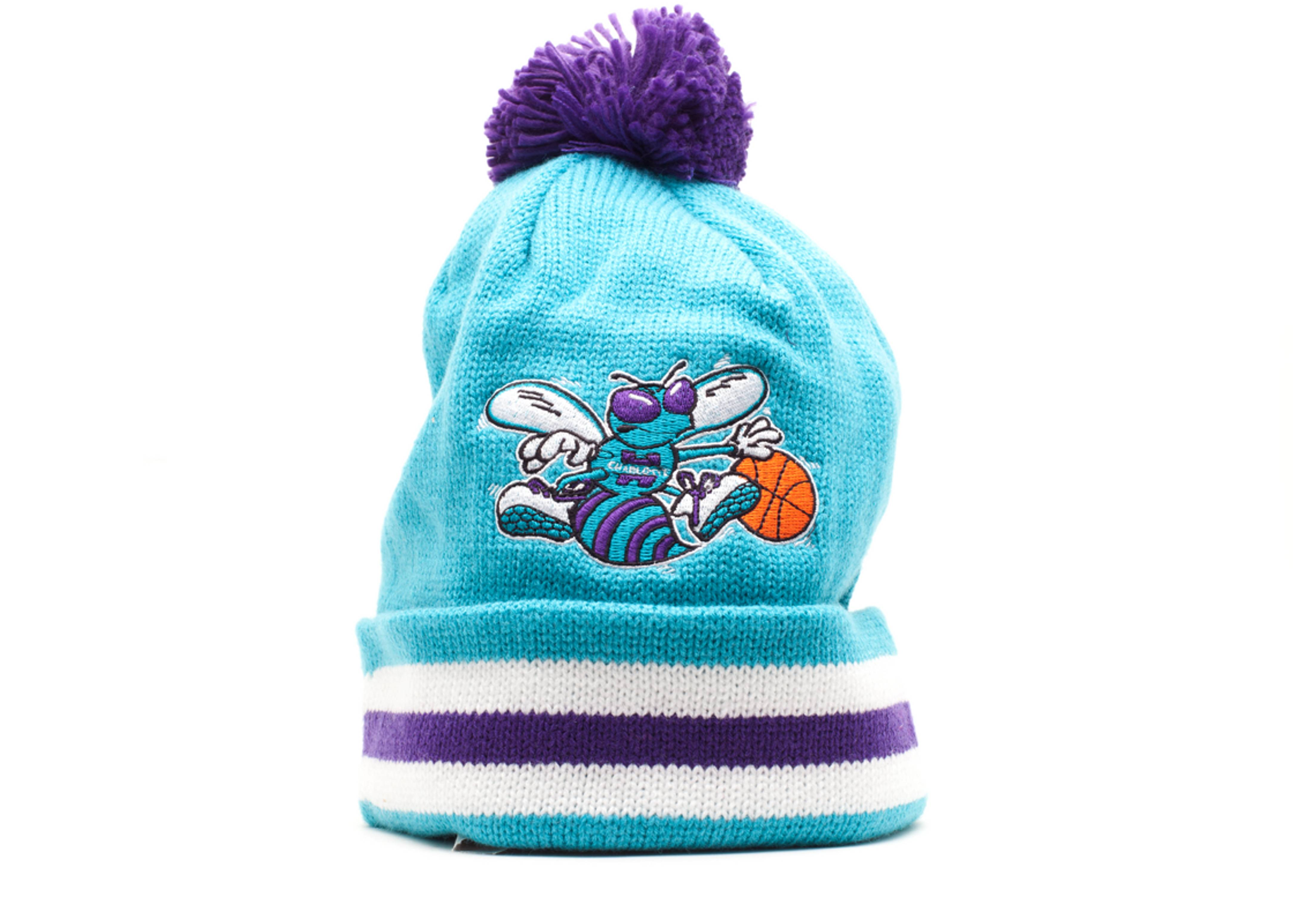 charlotte hornets cuffed pom knit beanie