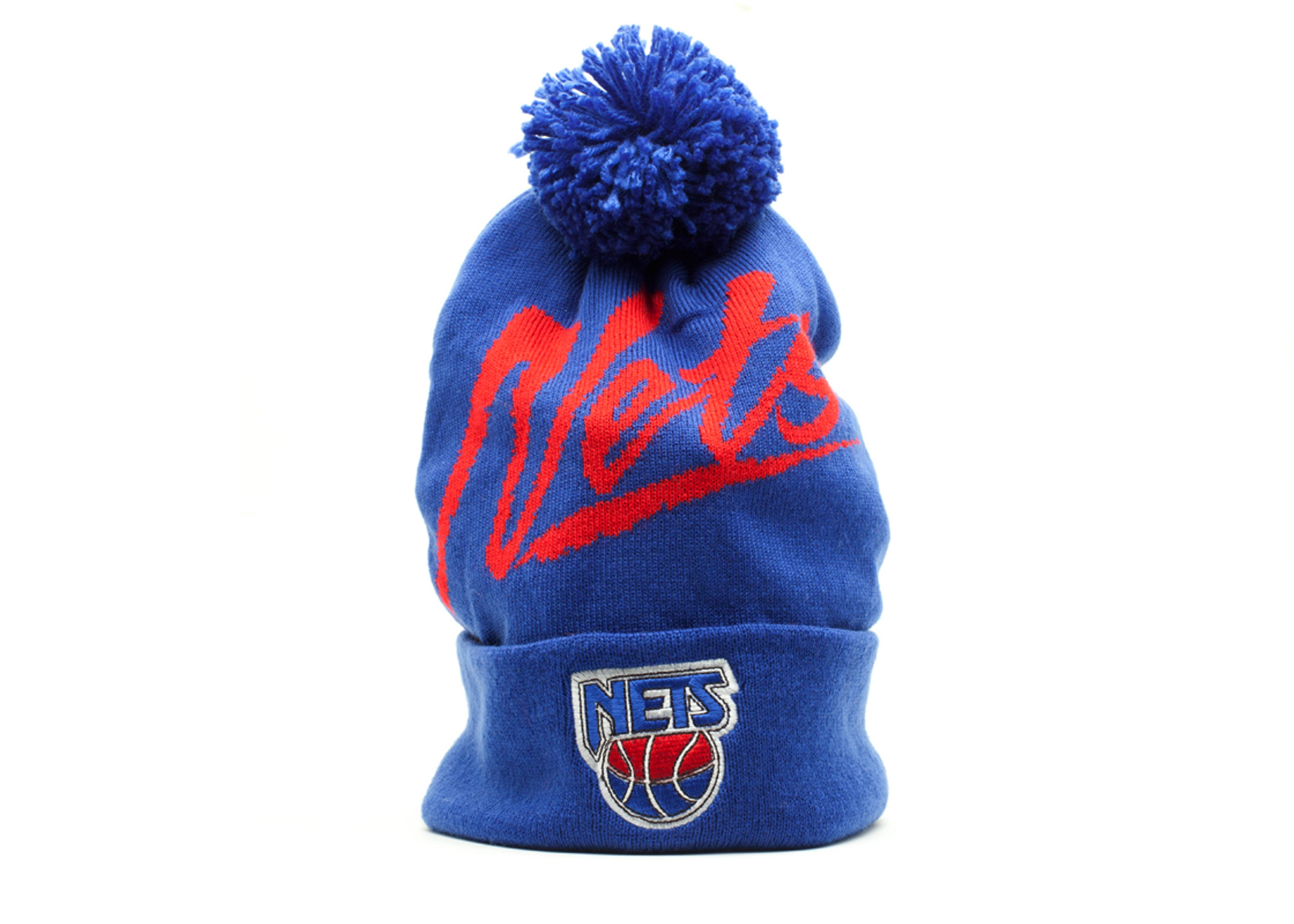 new jersey nets cuffed pom knit beanie