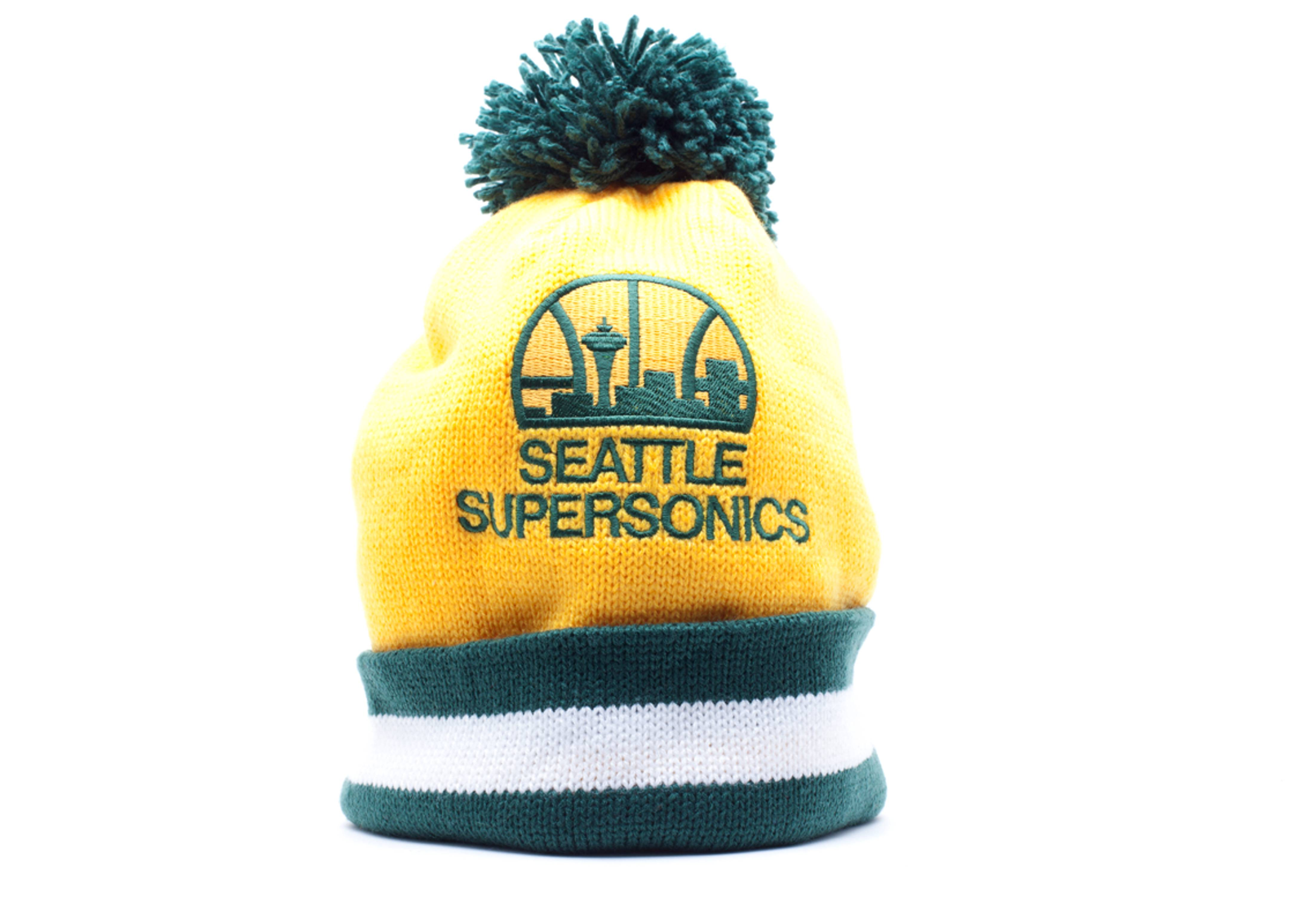 seattle supersonics cuffed pom knit beanie