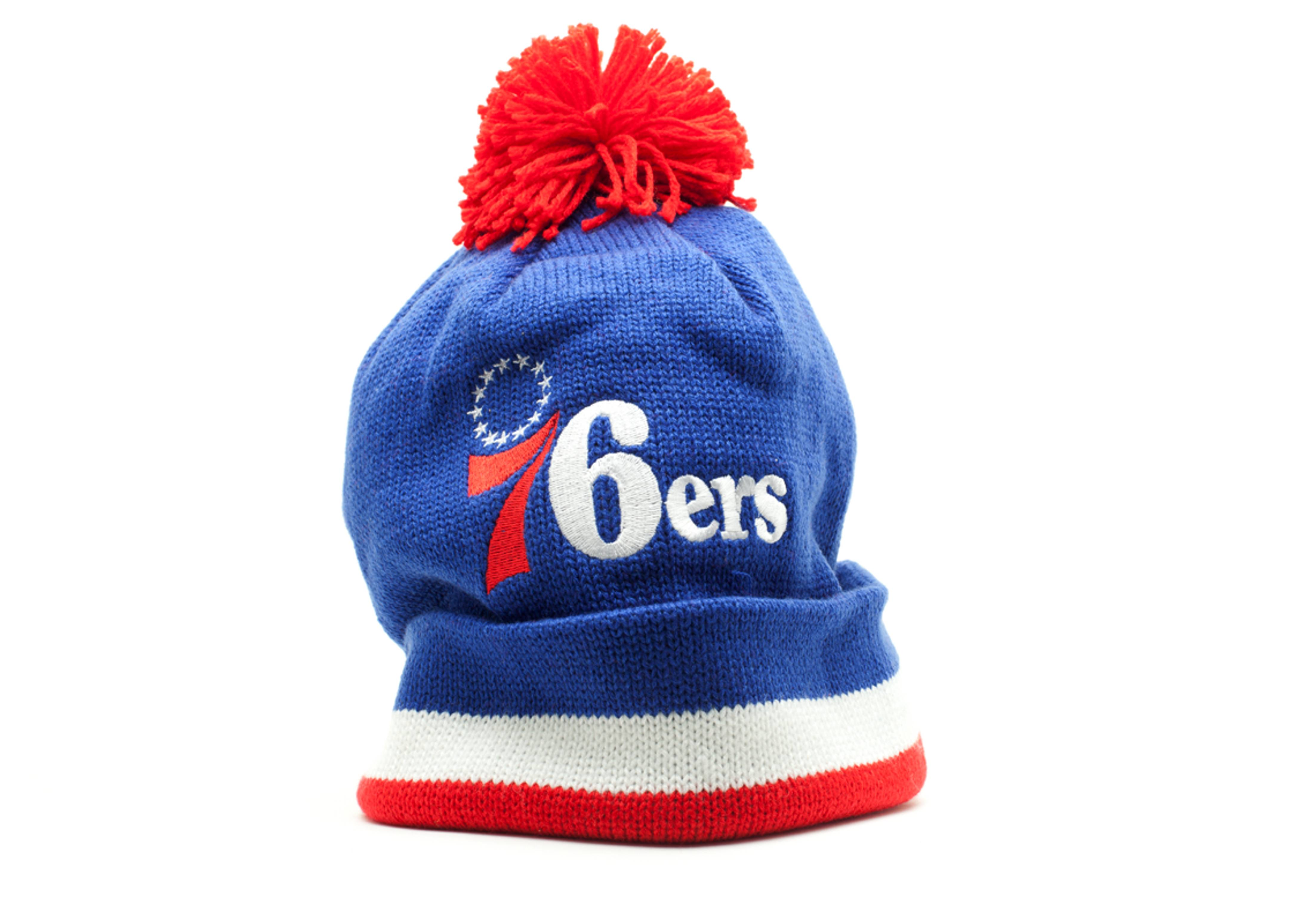 465ce09b8 Philadelphia 76ers Cuffed Pom Knit Beanie - Mitchell & Ness ...
