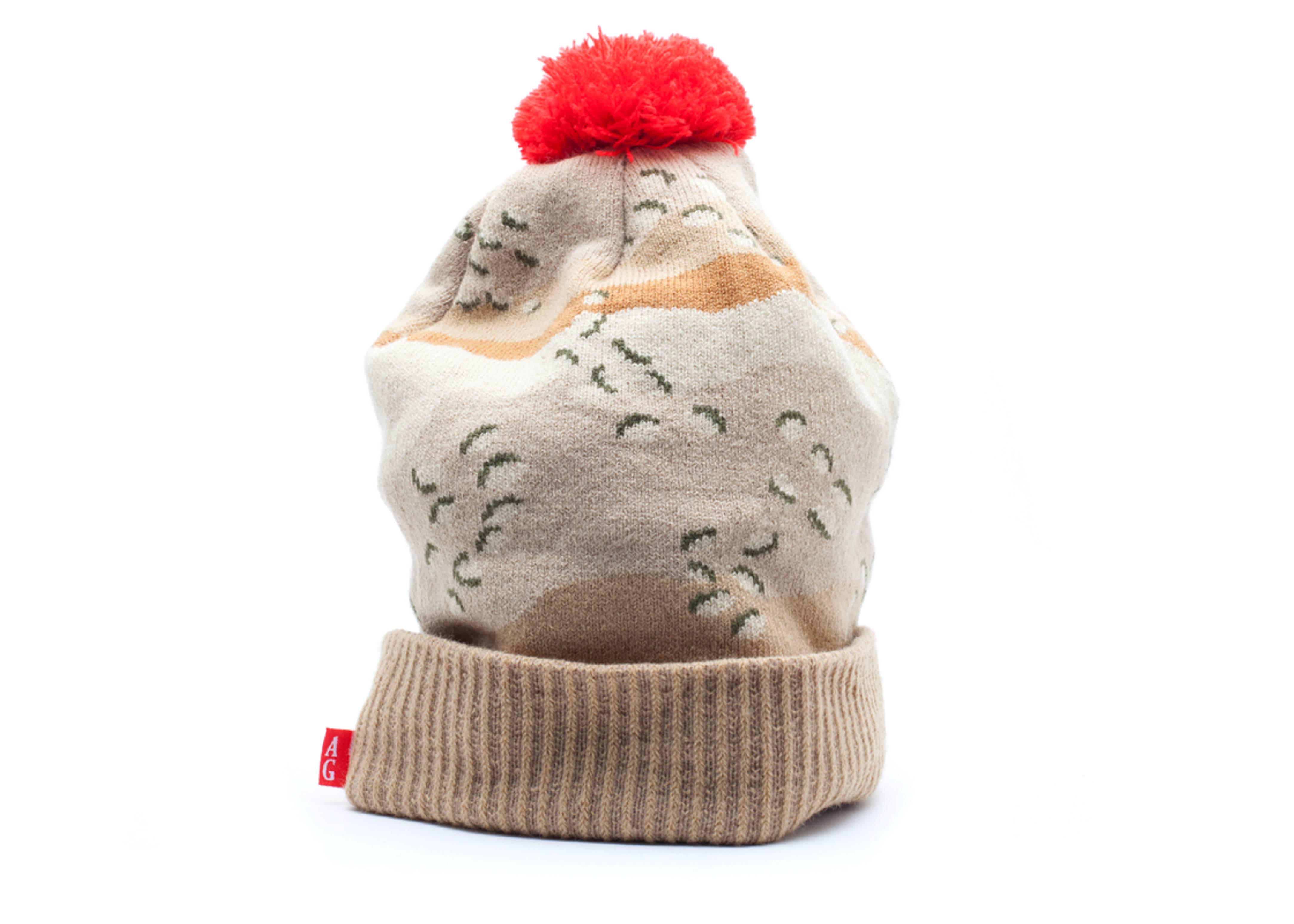 battlefield cuffed pom knit beanie