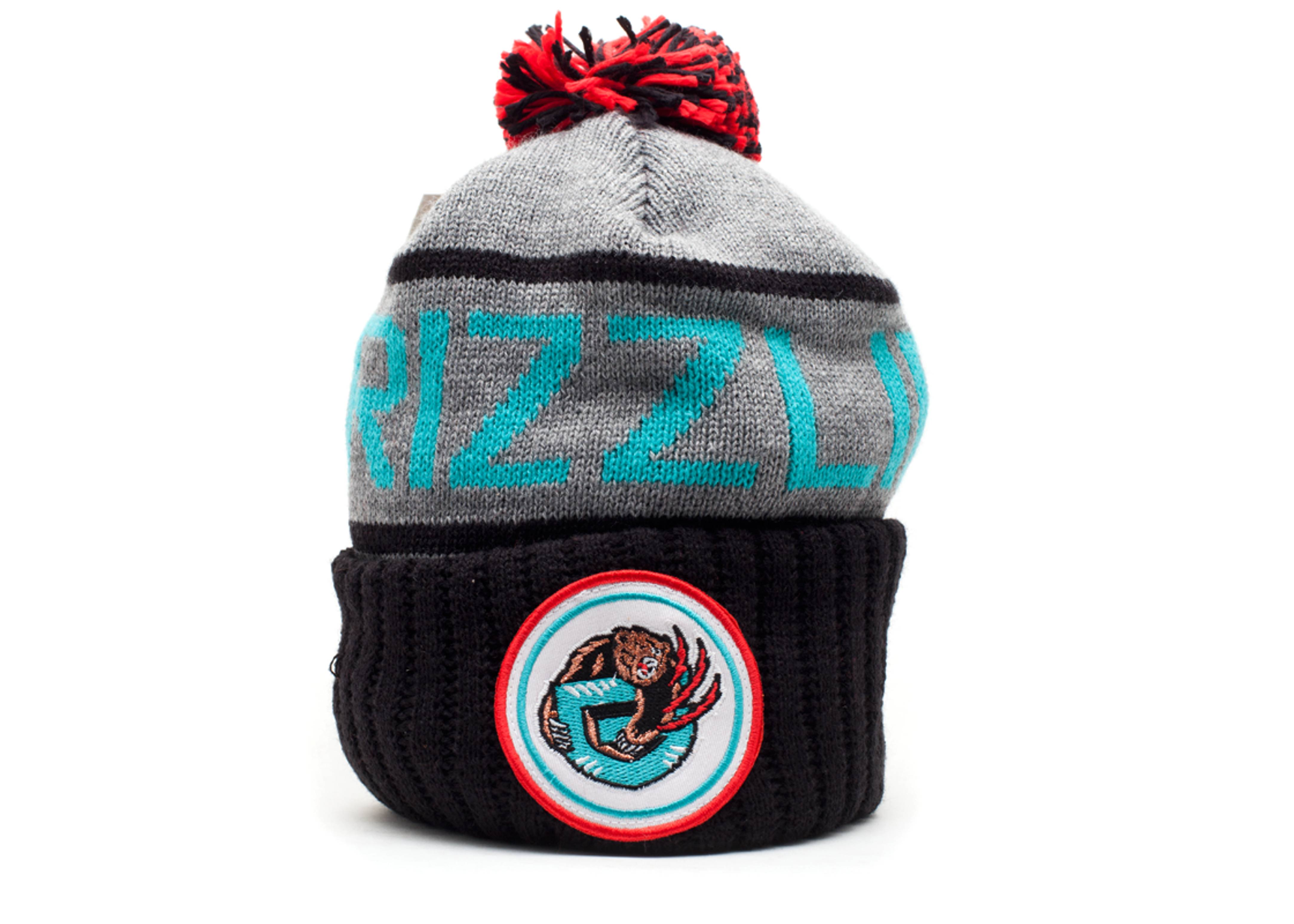 vancouver grizzlies cuffed pom knit beanie