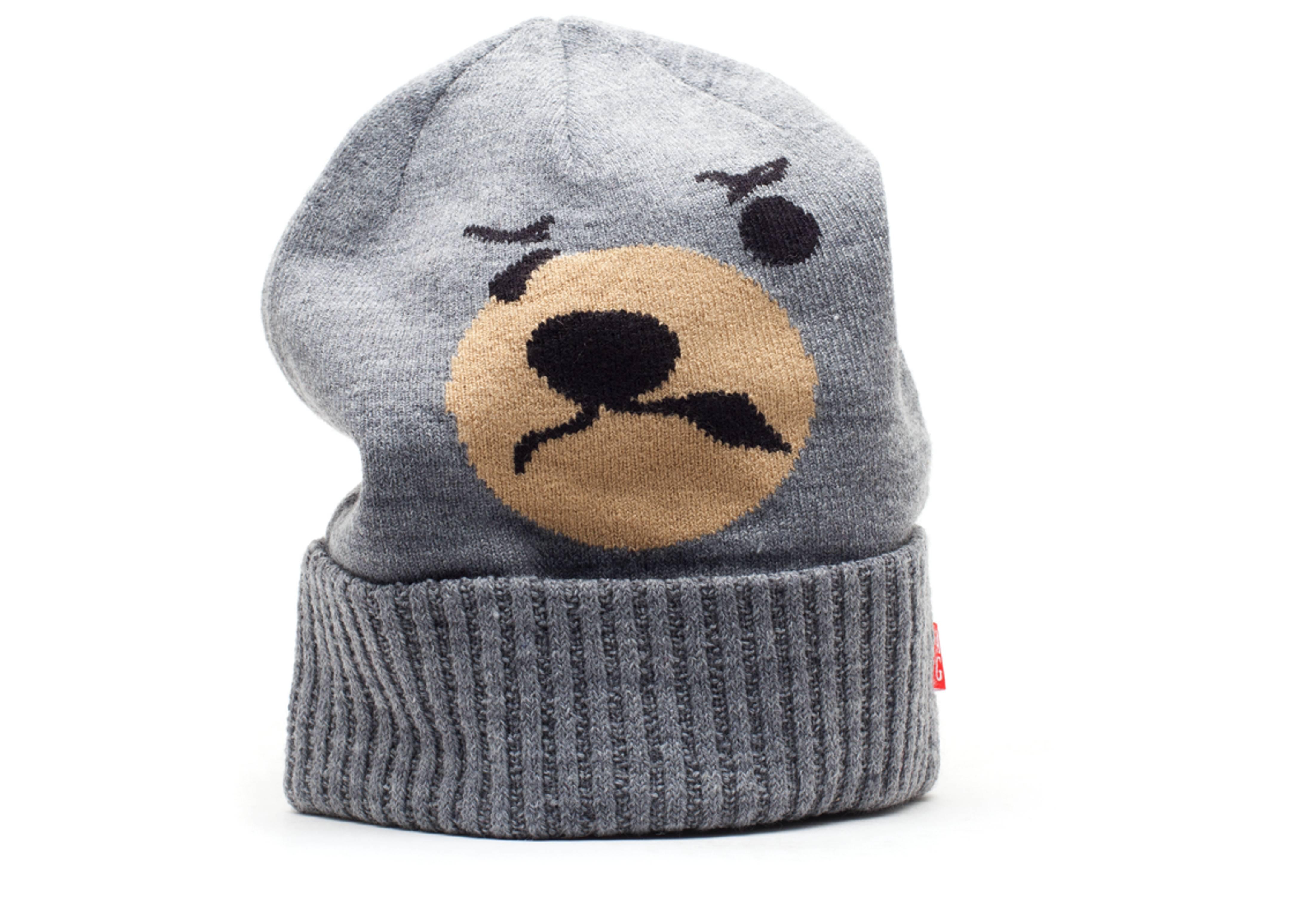 angry lo bear beanie